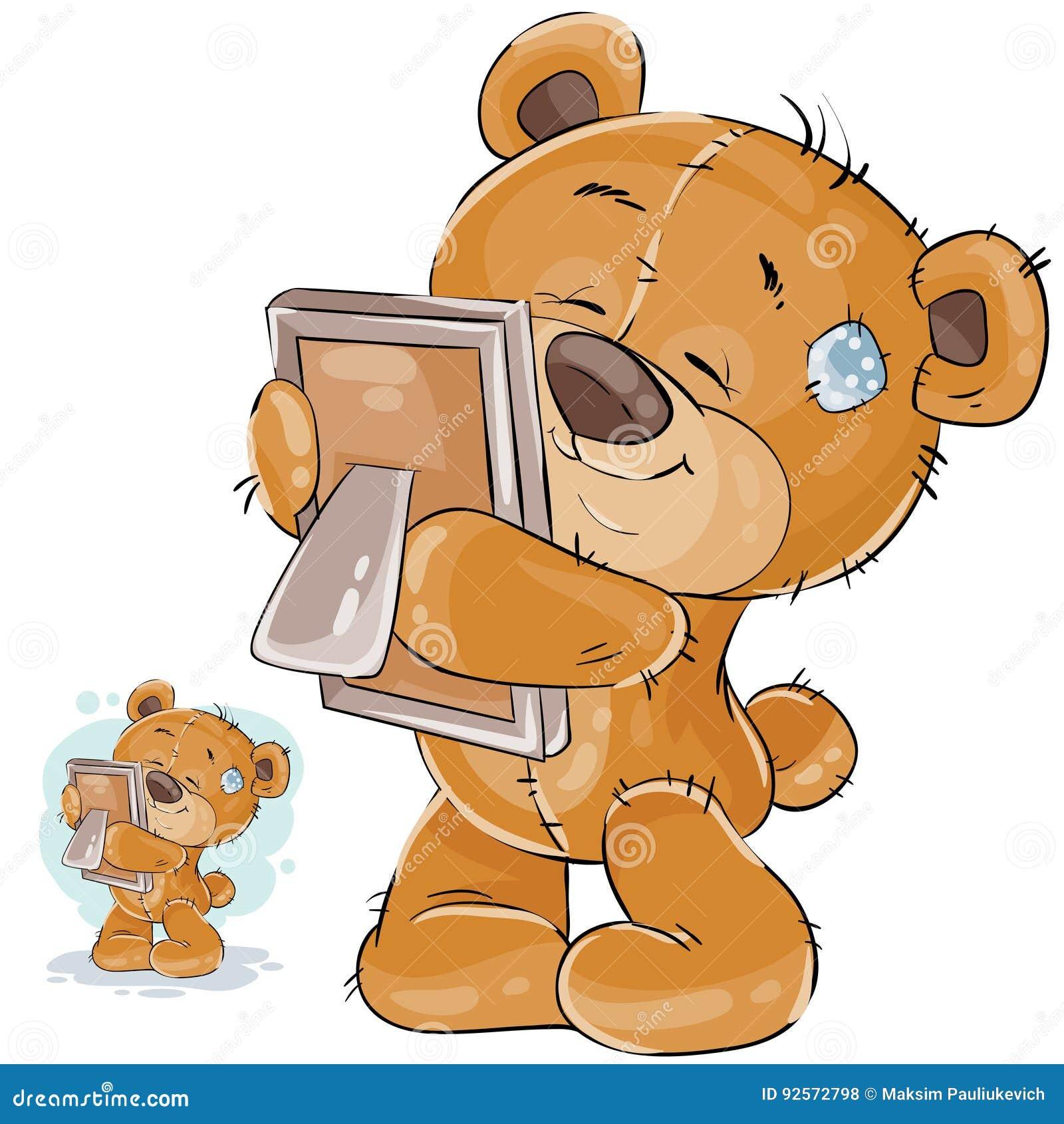 Vector l illustrazione di un orsacchiotto marrone manca qualcuno ed abbraccia una foto