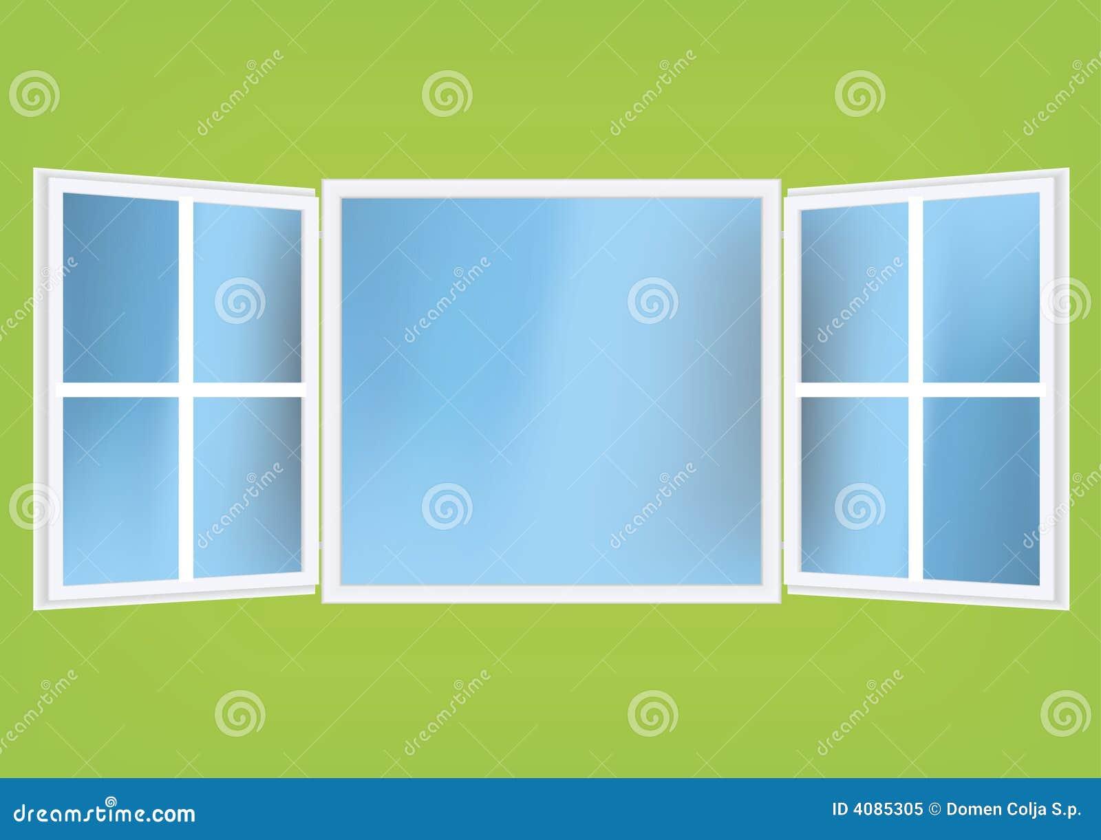 Vector l 39 illustrazione di una finestra aperta con le for Disegno di finestra aperta