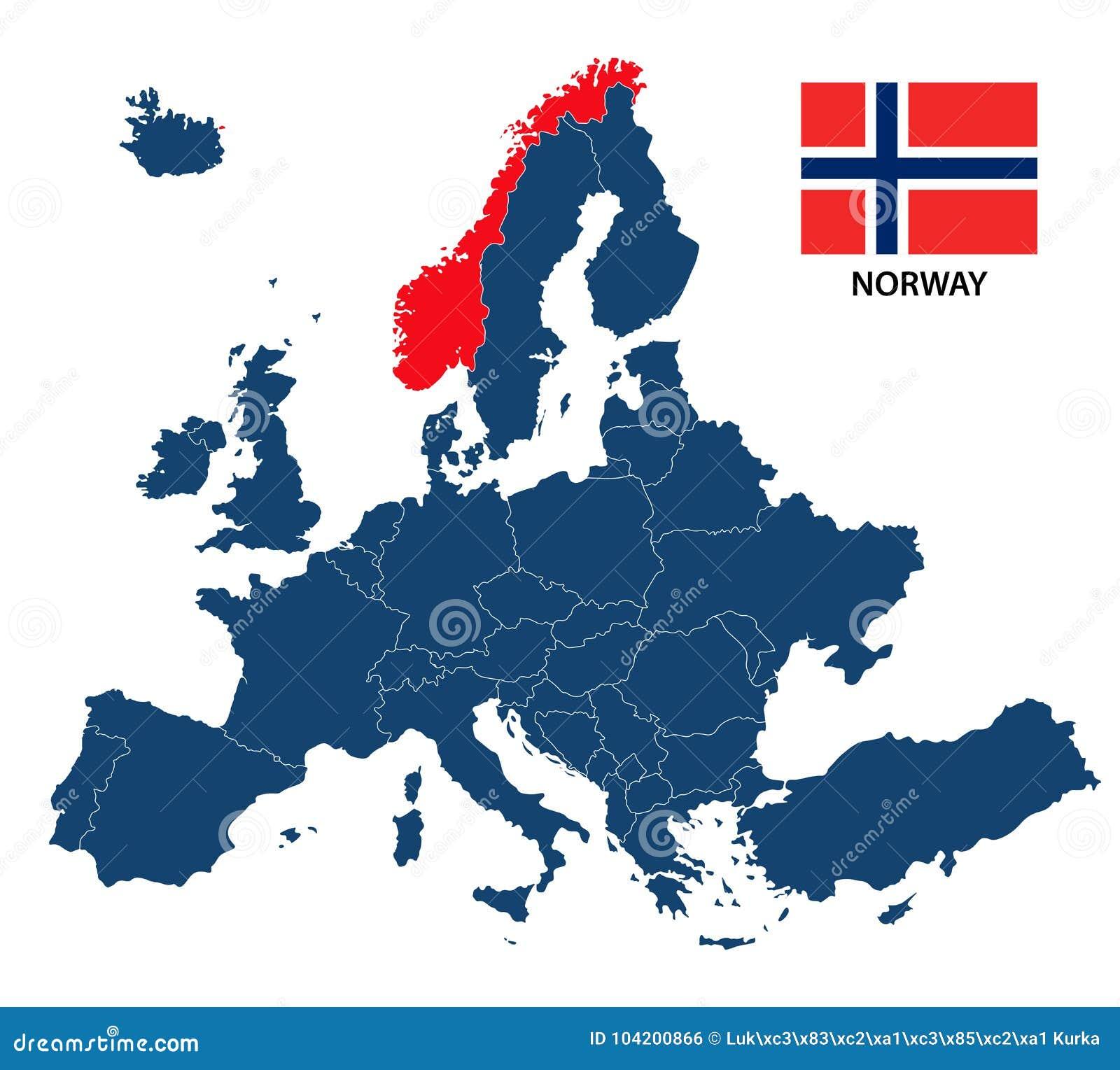 La Norvegia Cartina.Vector L Illustrazione Di Una Mappa Di Europa Con La Norvegia Evidenziata Illustrazione Vettoriale Illustrazione Di Disegno Immagine 104200866