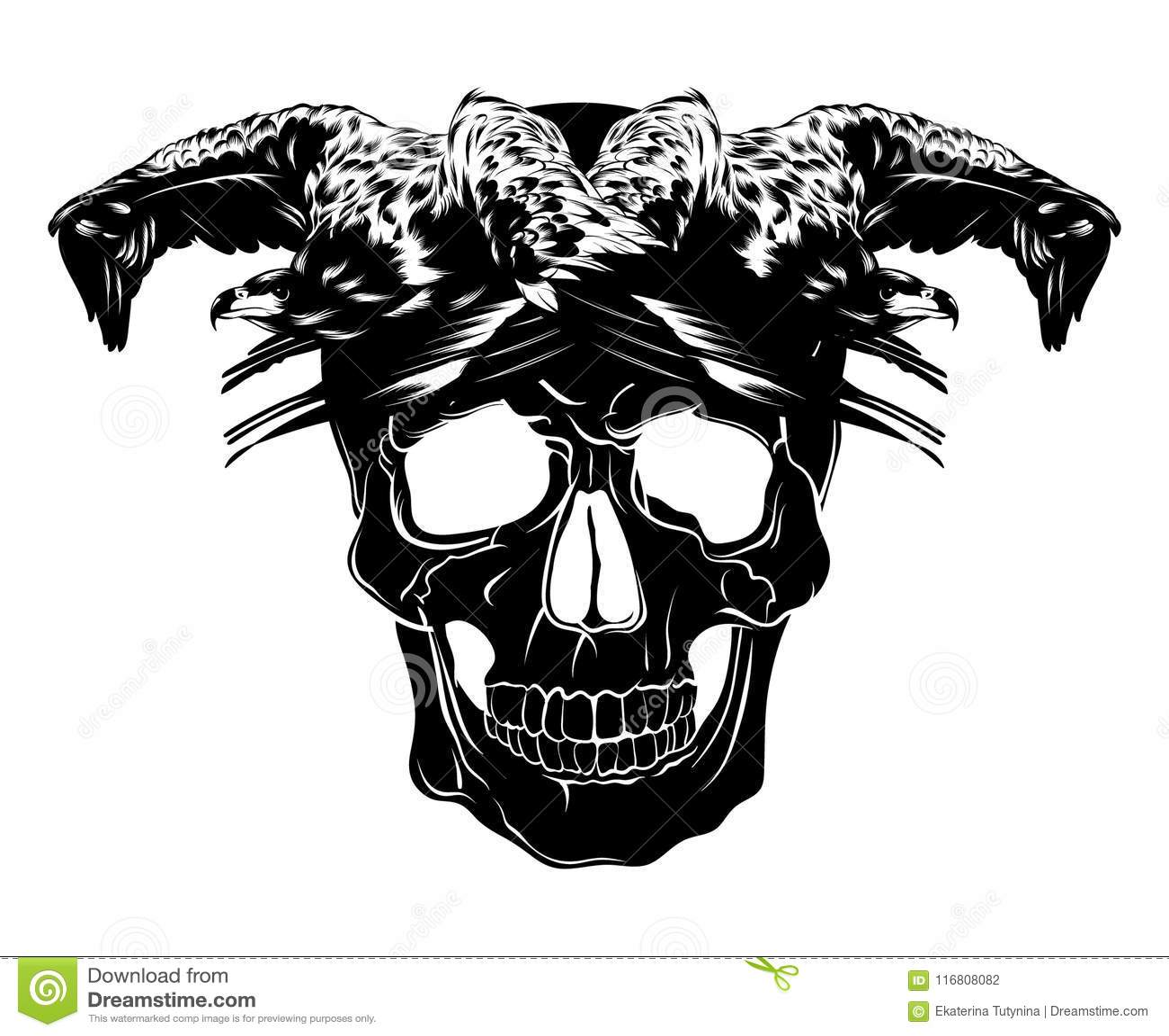 Vector l illustrazione disegnata a mano del cranio dell essere umano e dell aquila isolato