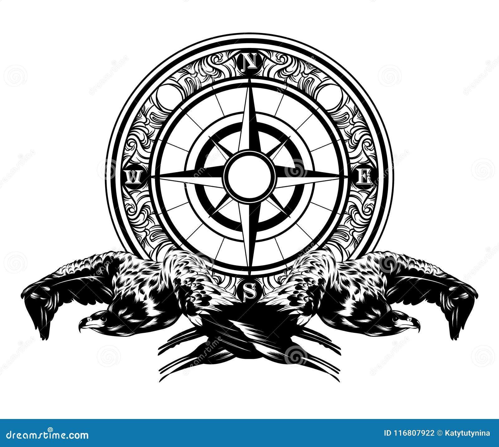 Vector l illustrazione disegnata a mano dell aquila e della bussola isolate