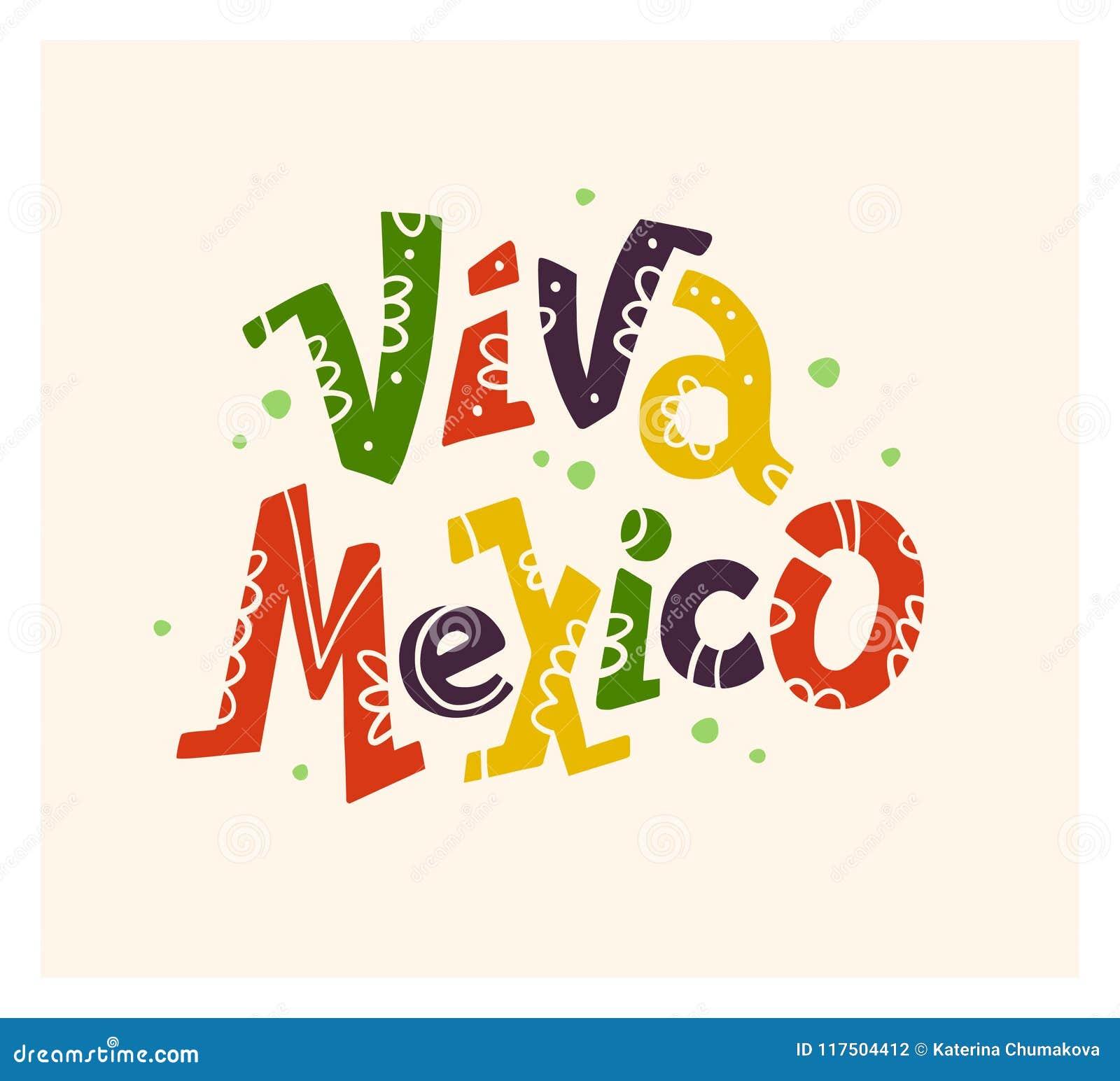 Vector l illustrazione disegnata a mano piana con l iscrizione piana di Viva Mexico isolata su fondo bianco