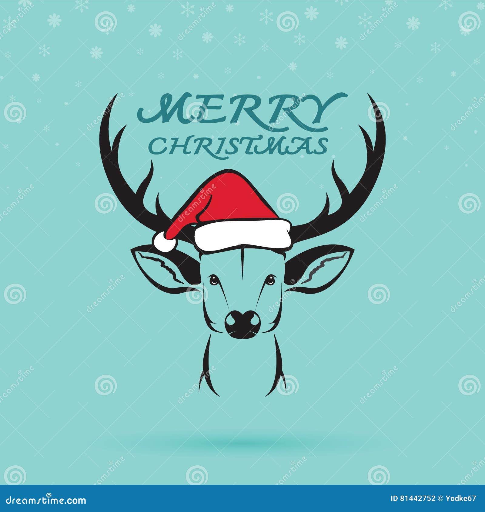 sconto più basso promozione speciale comprare a buon mercato Vector L'immagine Di Un Cervo E Dei Cappelli Di Santa ...