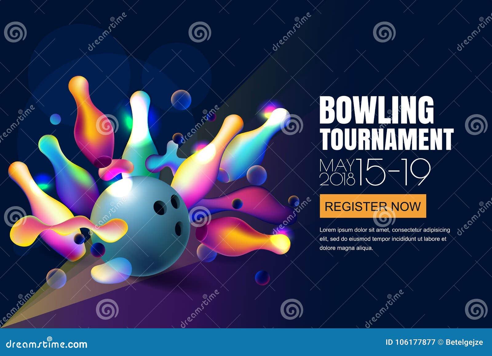 Vector l insegna o il manifesto al neon d ardore di torneo di bowling con le palle da bowling 3d ed i perni multicolori