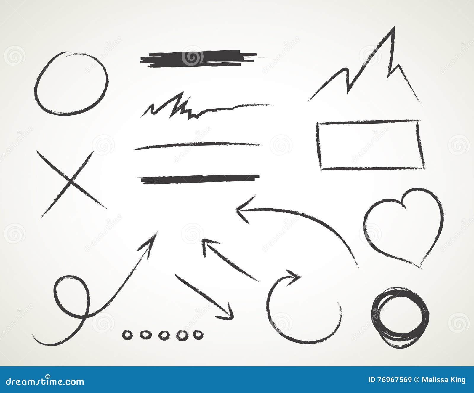 Vector l insieme disegnato a mano su fondo bianco - elementi con le frecce e gli elementi