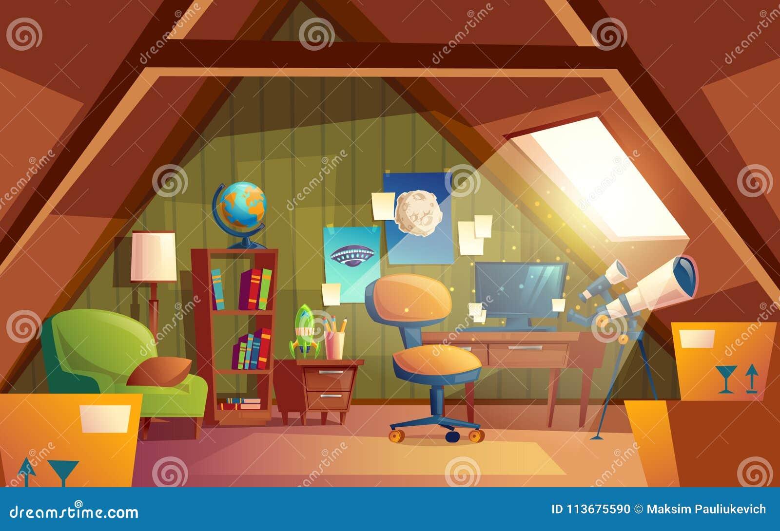 Stanza Dei Giochi Bambini : Vector linterno della soffitta stanza dei giochi dei bambini con