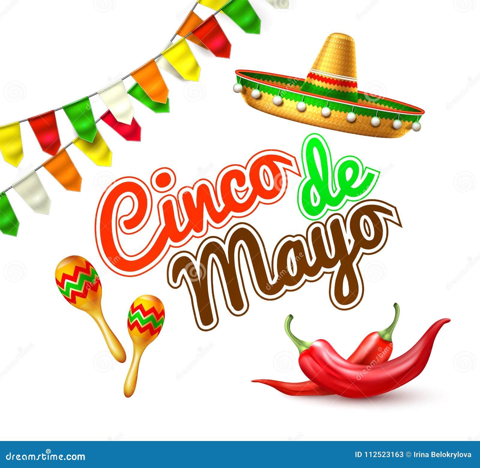 Vector la bandera mexicana del cartel de la parte de Mayo del cinco