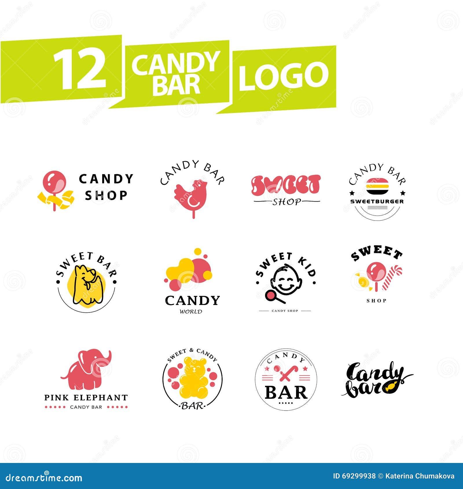 Vector La Barra De Caramelo Plana Y El Diseño Dulce Del Logotipo ...