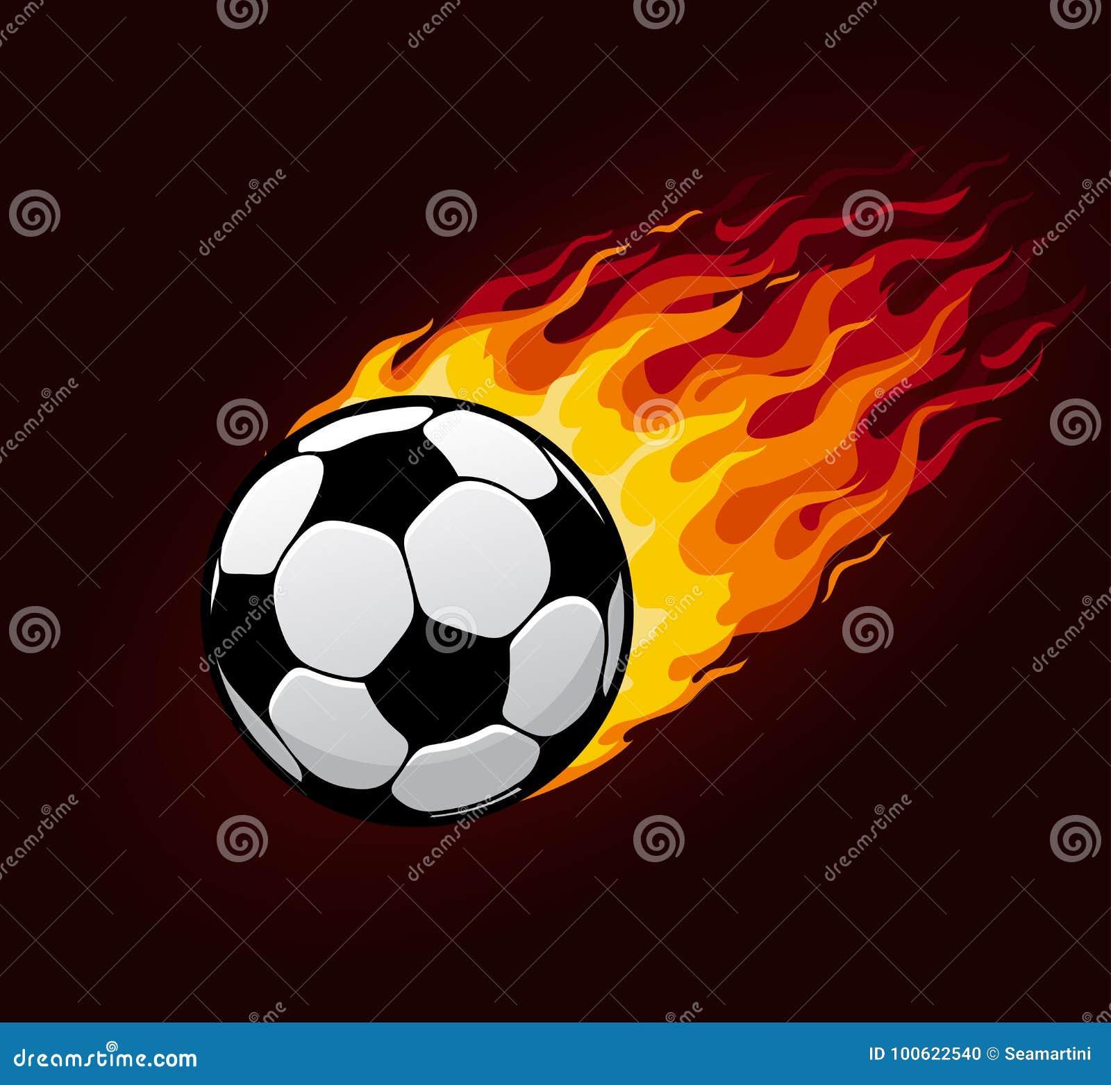 Balón de fútbol o del fútbol con el rastro del fuego Vector el icono del  vuelo de la bola o de la bola de fuego del deporte con la llama ardiente f2ce80a8f6331