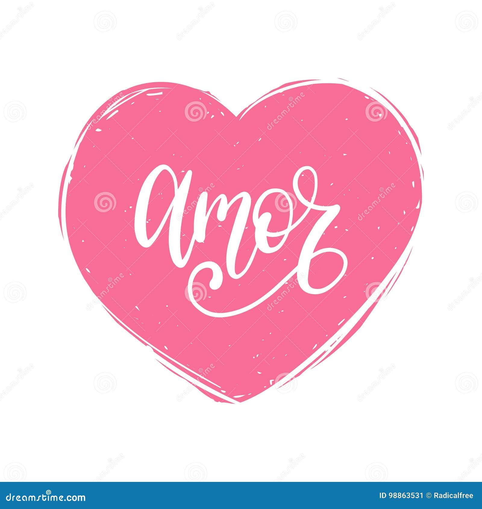 Vector La Caligrafia De Amor Traduccion Espanola De Frase Del Amor