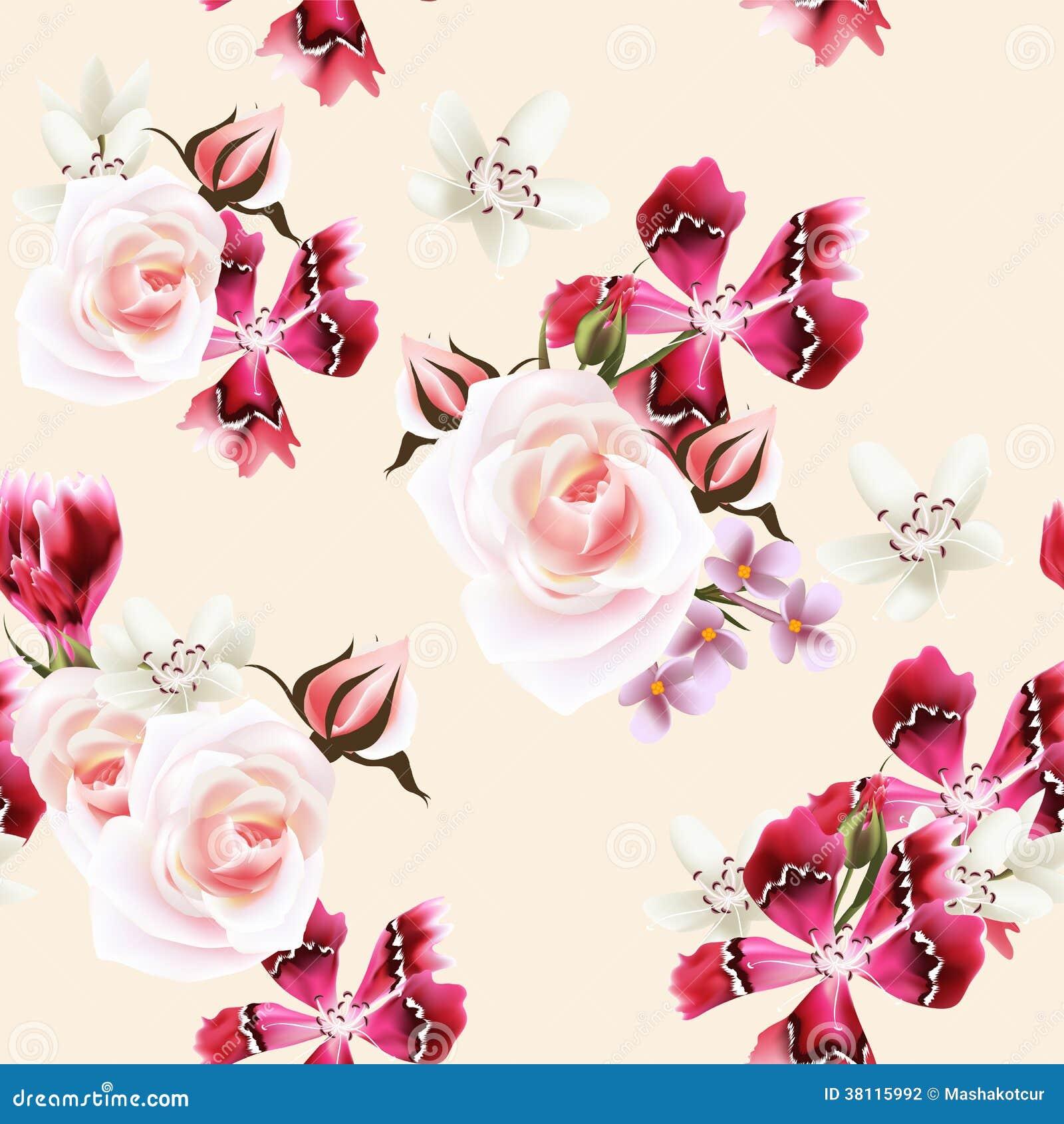 Vector la carta da parati senza cuciture con le rose ed i for Carta parati fiori