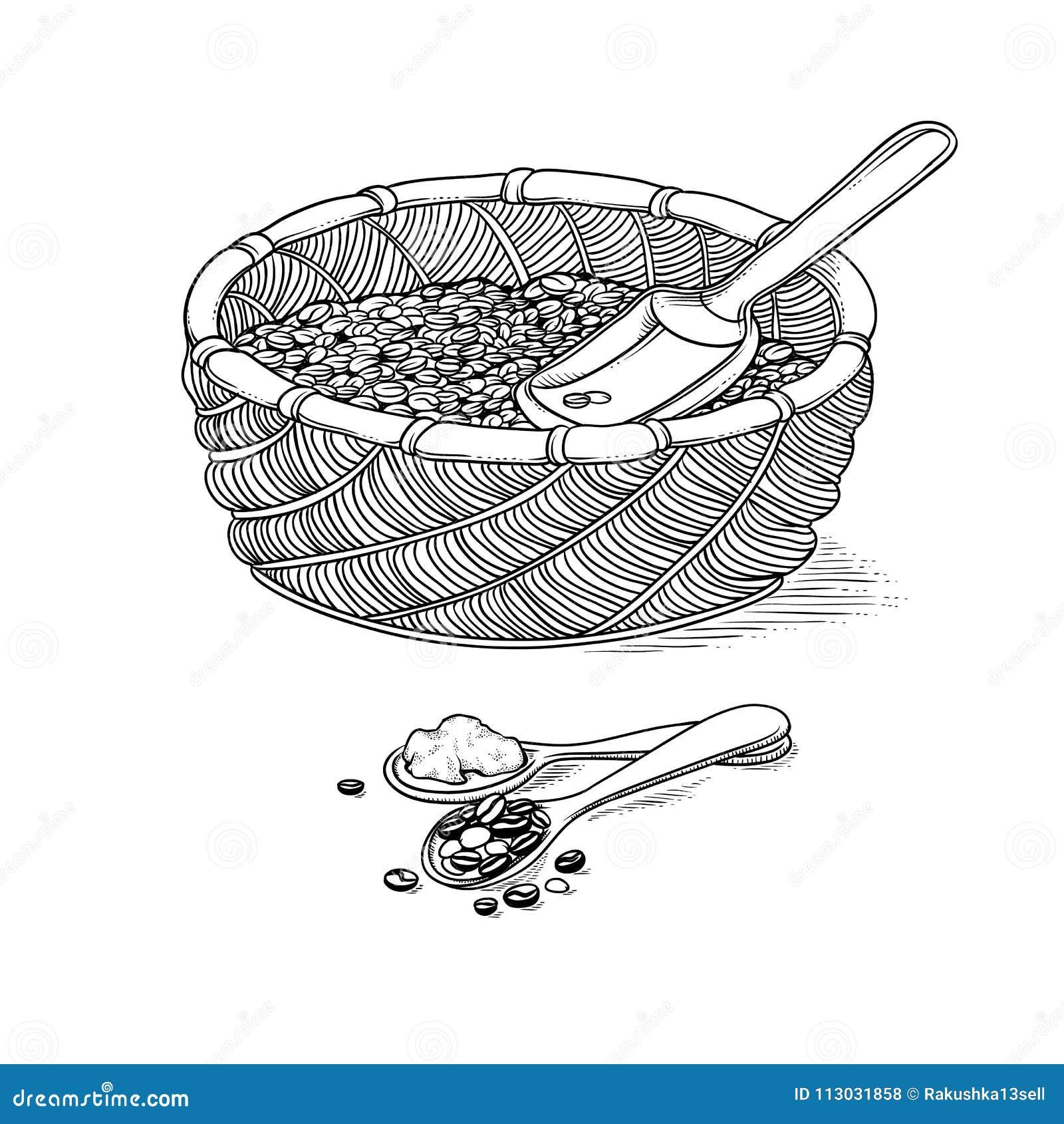 Vector la cesta de mimbre del bosquejo con el iIllustration del grano y de la pala blanco y negro de estilo ingraving cosecha y