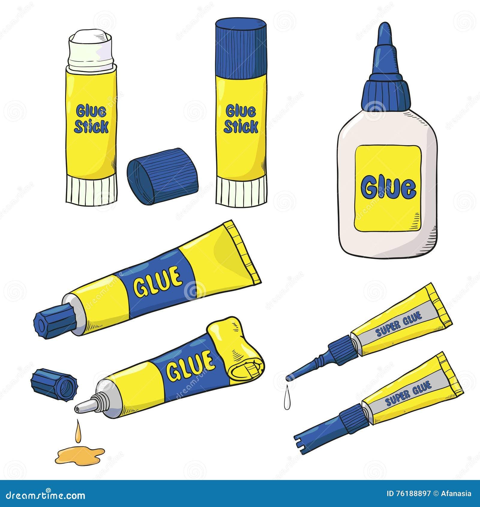 Vector la colección de tubos, de botella y de palillo del pegamento aislados en blanco