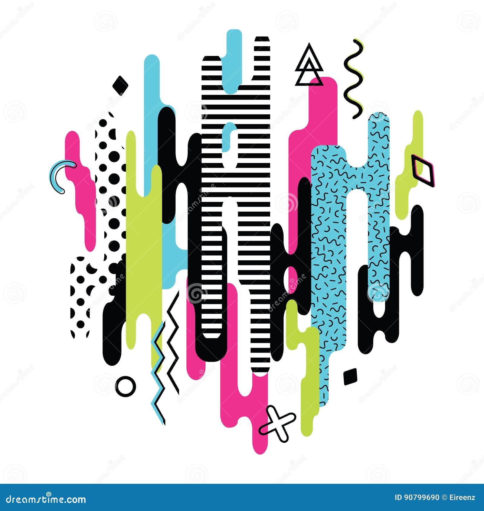 Vector la composición dinámica moderna hecha de diversas formas redondeadas