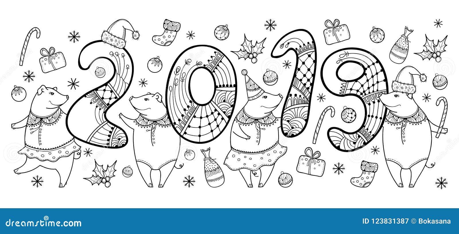 Vector la composizione del maiale felice del nero del profilo isolato su fondo bianco Simbolo del nuovo anno cinese 2019 nello st