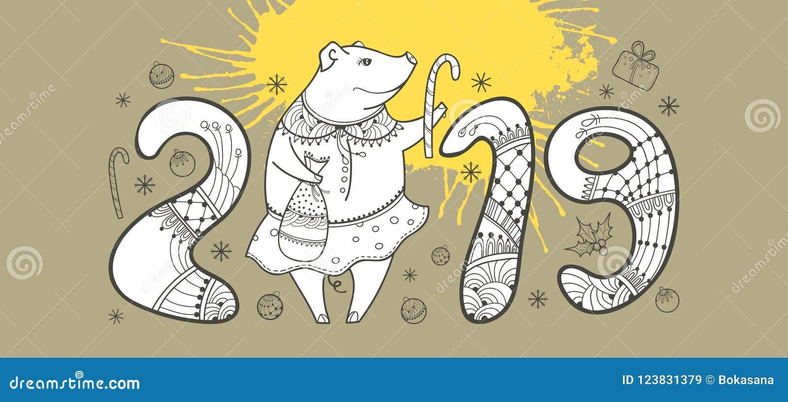 Vector la composizione del maiale felice del profilo e della macchia gialla sui precedenti beige pastelli Simbolo del nuovo anno