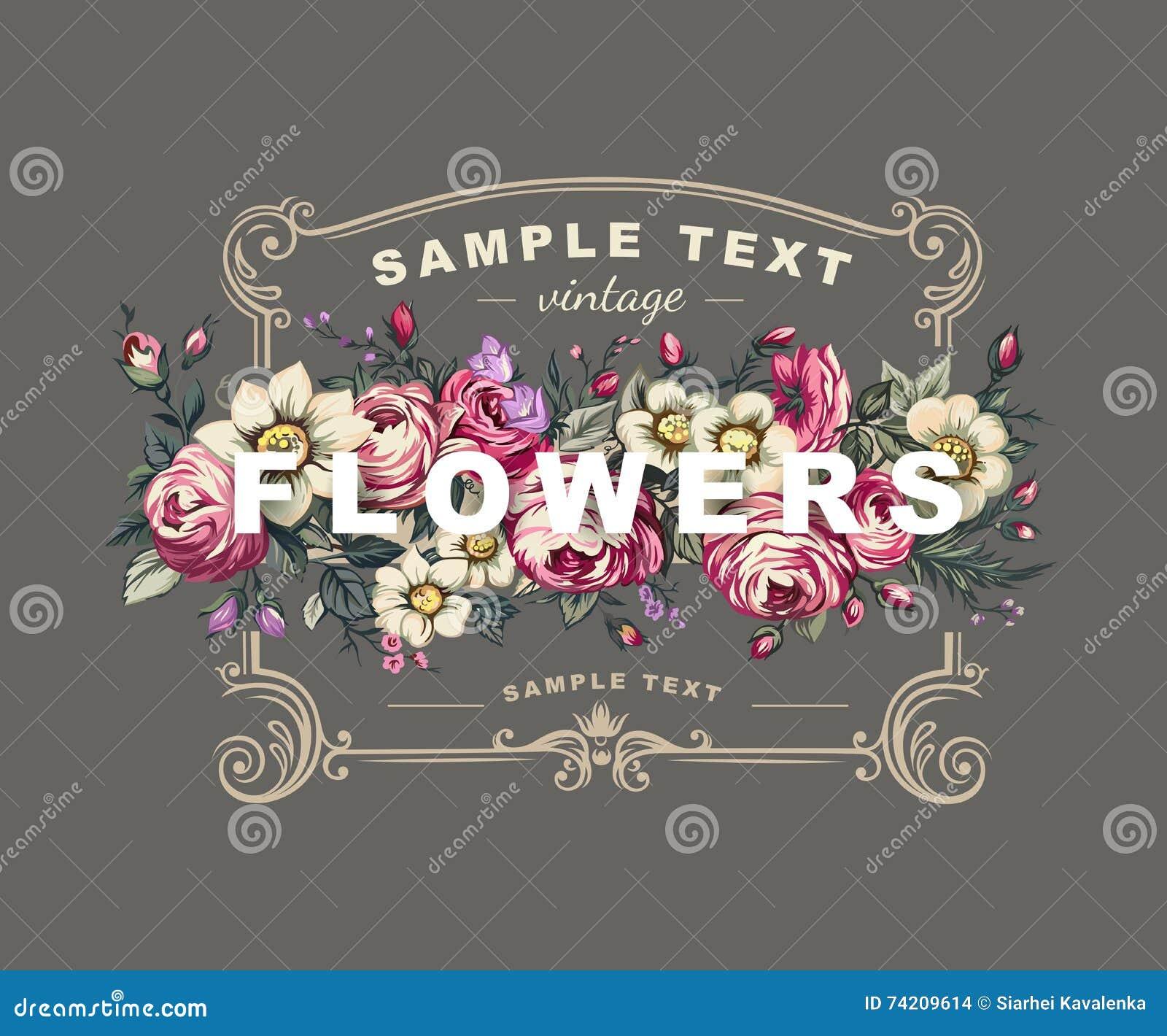 Vector la etiqueta floral con un marco integrado por flores detalladas