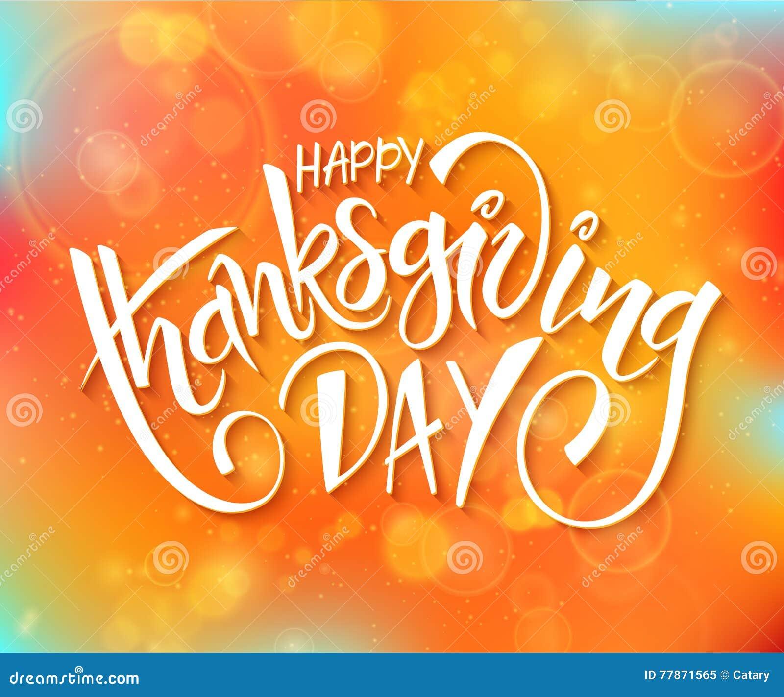 Vector la frase dell iscrizione di saluto del giorno di ringraziamento - giorno felice di ringraziamento - sul fondo di autunno d