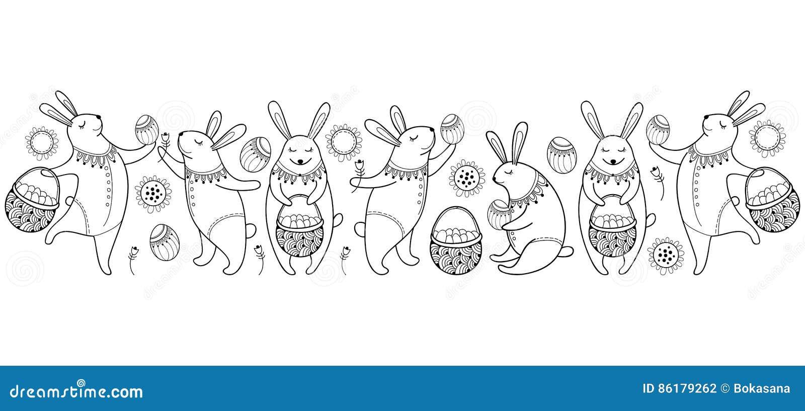 Vector la frontera feliz de Pascua con el conejo, el huevo y la cesta de pascua del esquema aislados en el fondo blanco Elementos