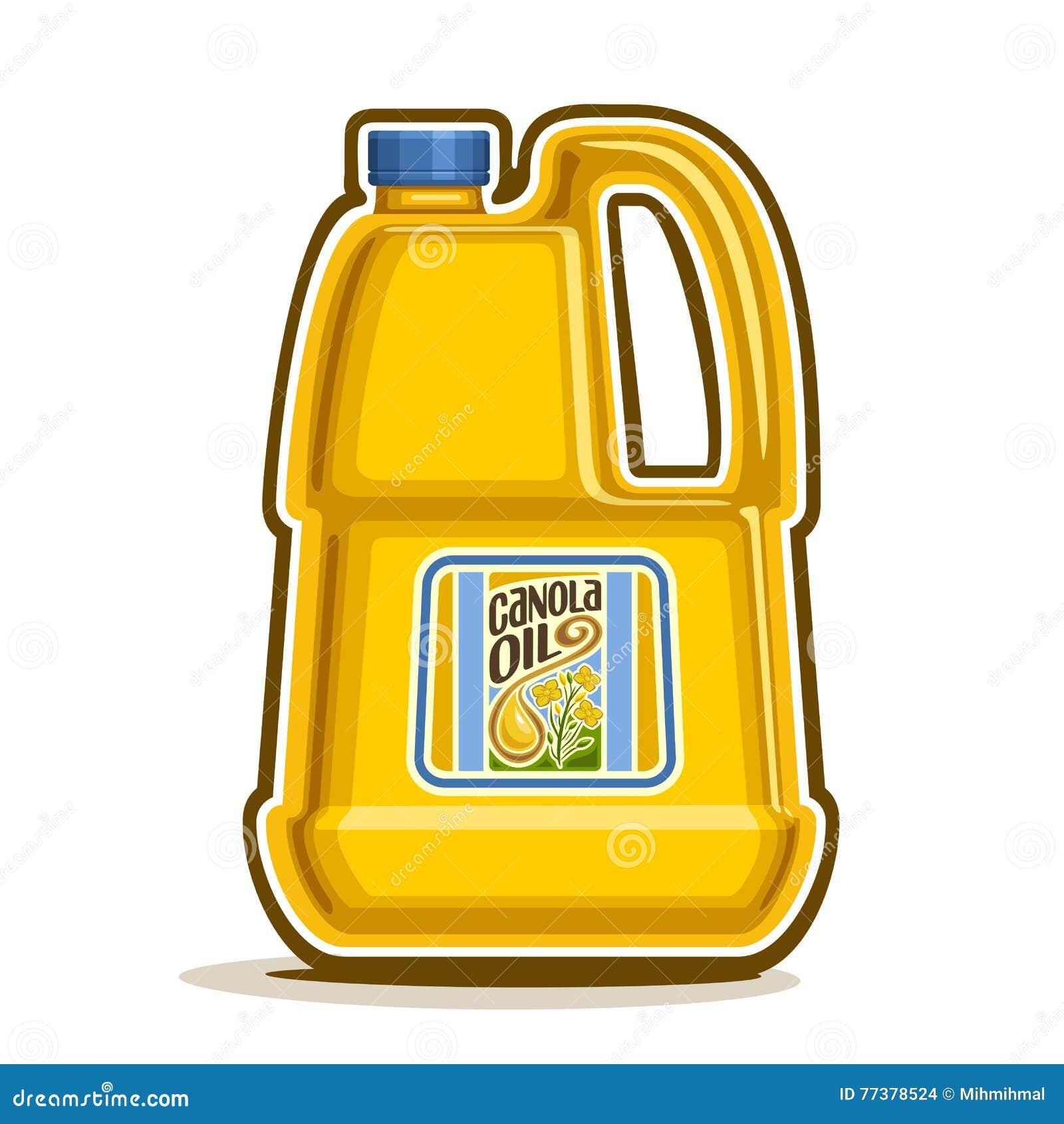 Vector la grande bottiglia di plastica gialla di logo con l olio del Canola