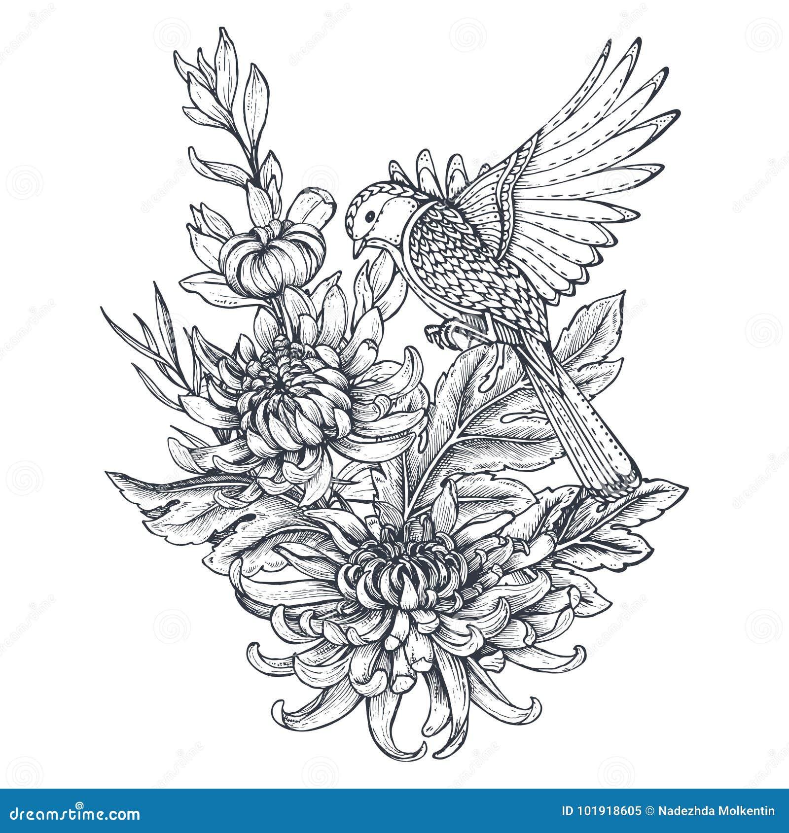 Vector La Guirnalda Con Flores Dibujadas Mano Del Crisantemo Y Un ...