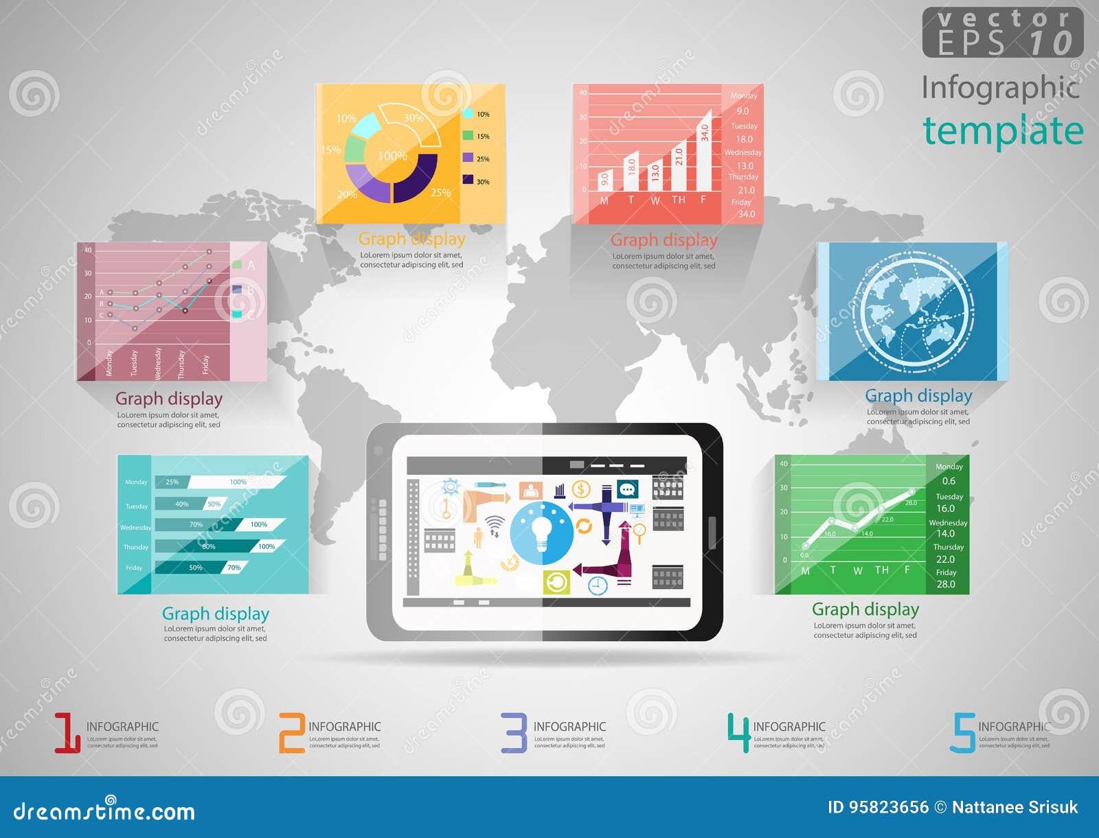 Vector la idea y el concepto modernos del negocio de la plantilla de Infographic del ejemplo con la tableta, cartas, gráficos, ic