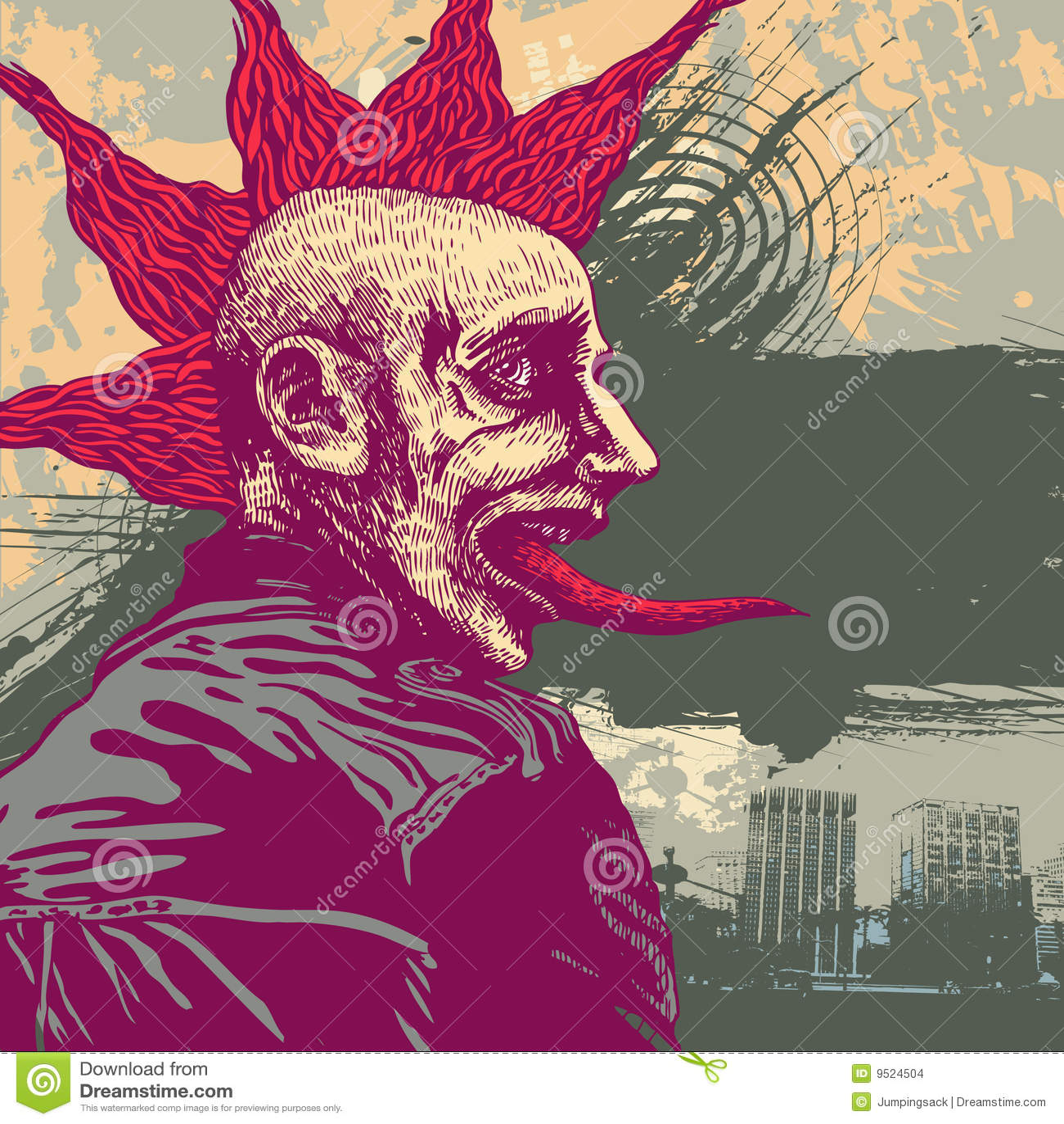 Vector la ilustración con punky joven en styl del grunge