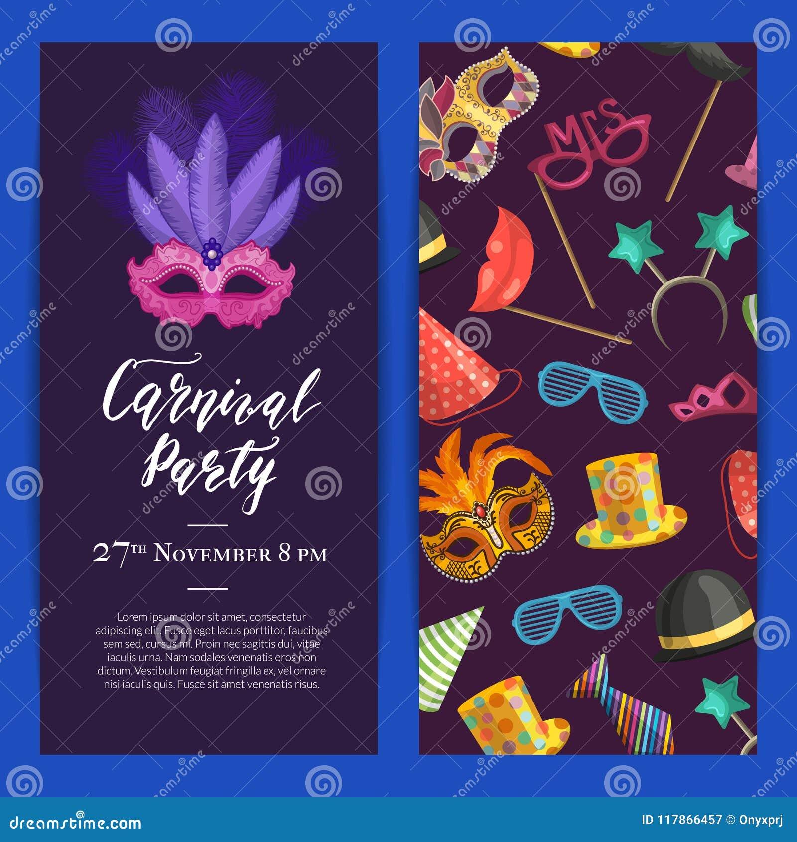 Vector la invitación del partido con las máscaras y vaya de fiesta los accesorios