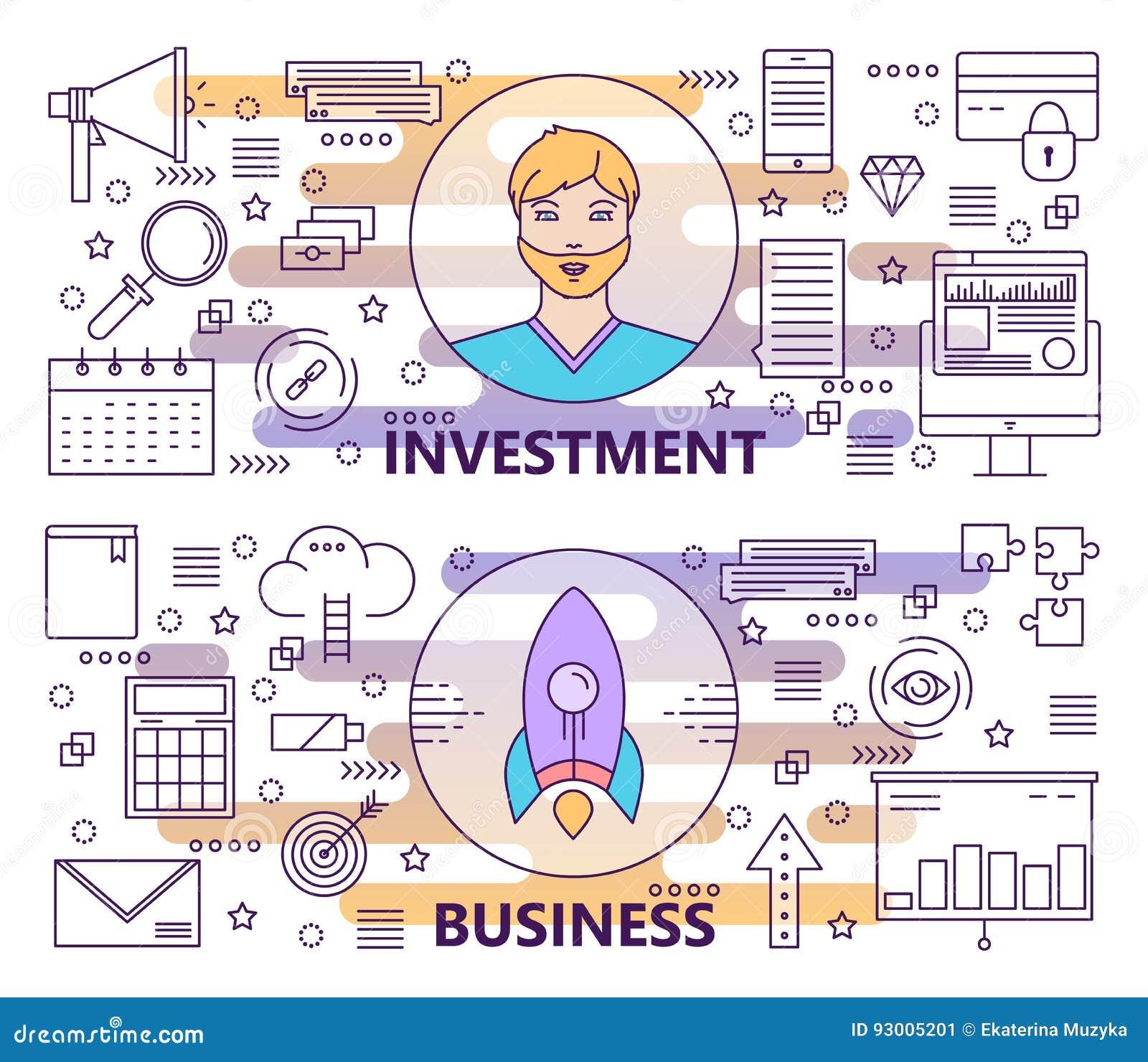Vector la línea fina moderna inversión y las banderas del negocio