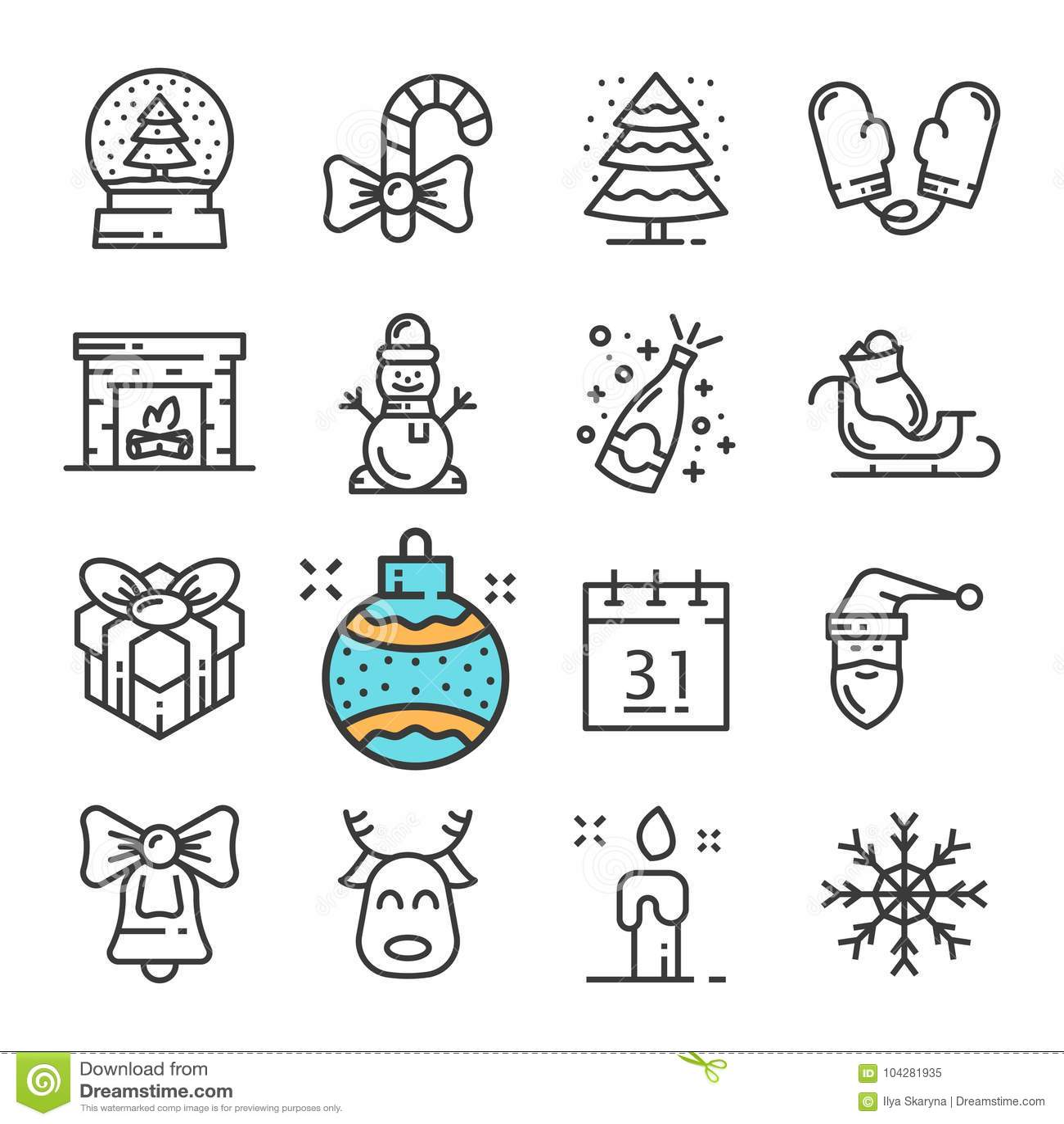Vector la línea negra la Navidad y los iconos del Año Nuevo fijados Incluye los iconos tales que muñeco de nieve, manoplas, nieve