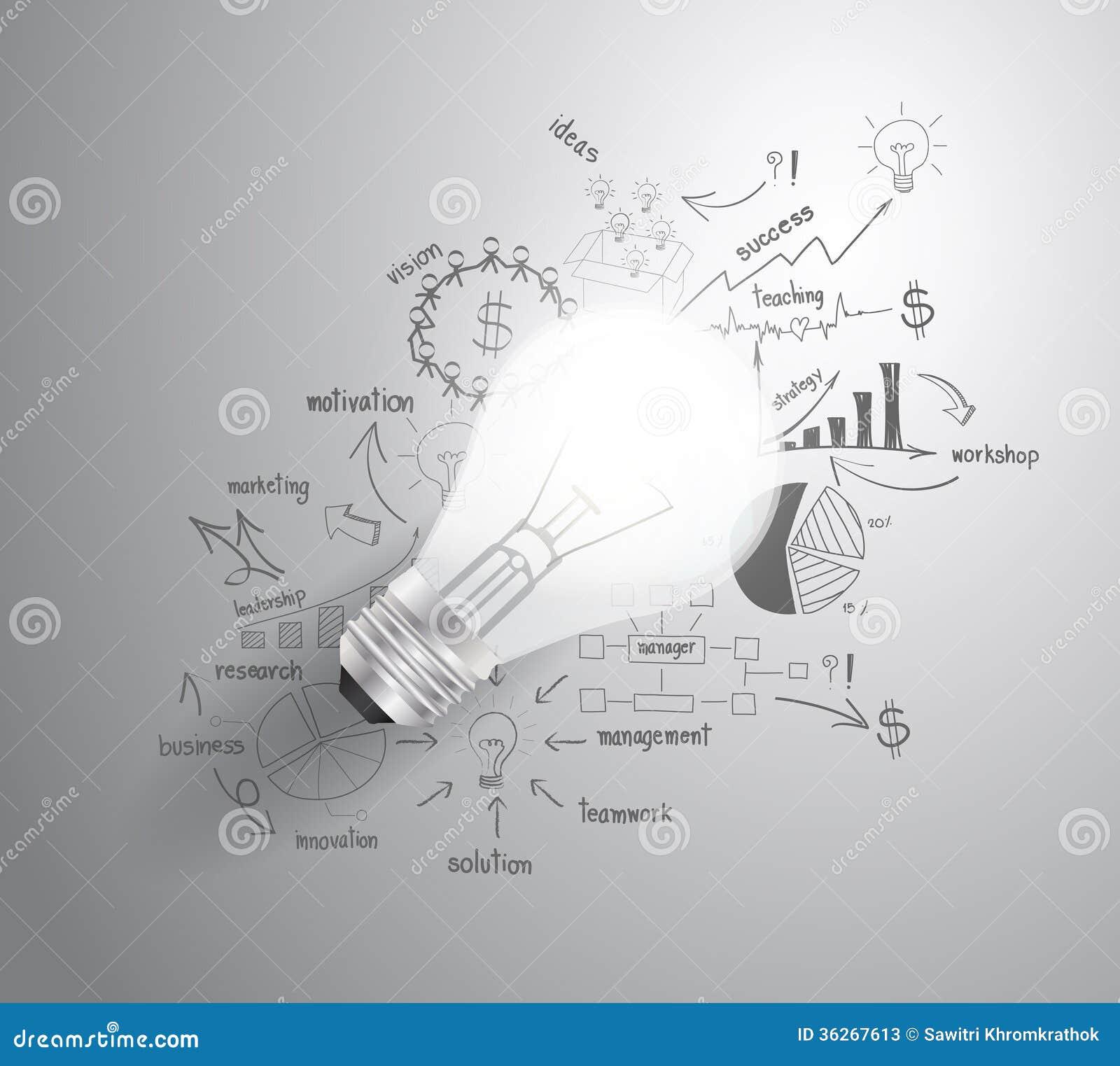 Vector la lampadina con la st di successo di affari del disegno