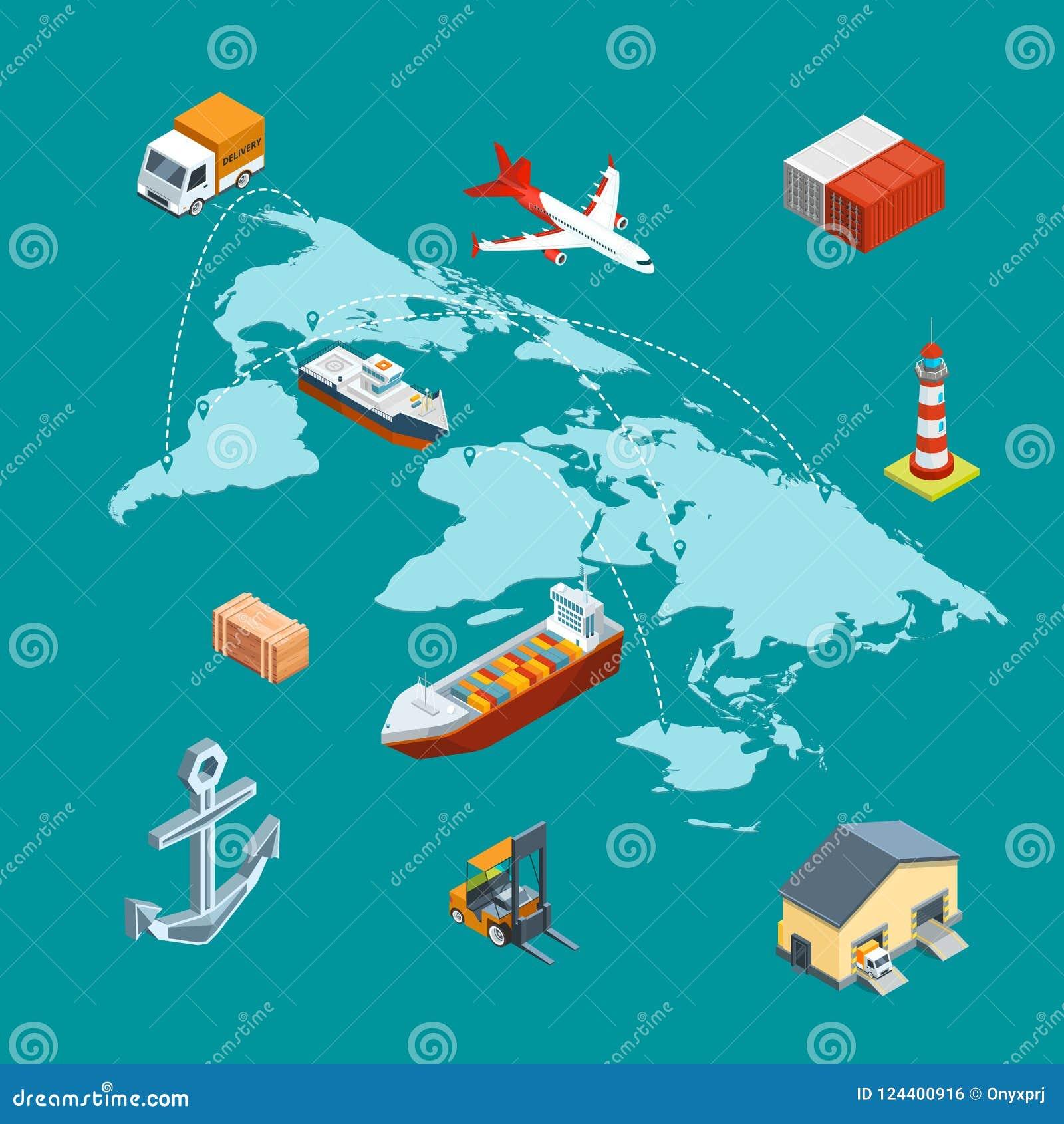 Vector la logistica marina isometrica ed il trasporto mondiale sulla mappa di mondo con l illustrazione di concetto dei perni