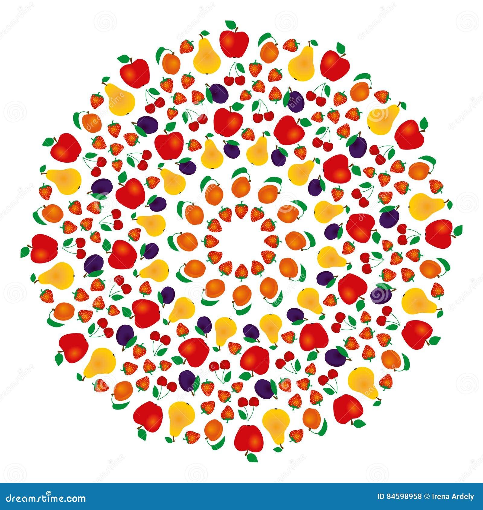 Vector La Mandala Fruttata Colorata Dell Estate Pagina Adulta Del