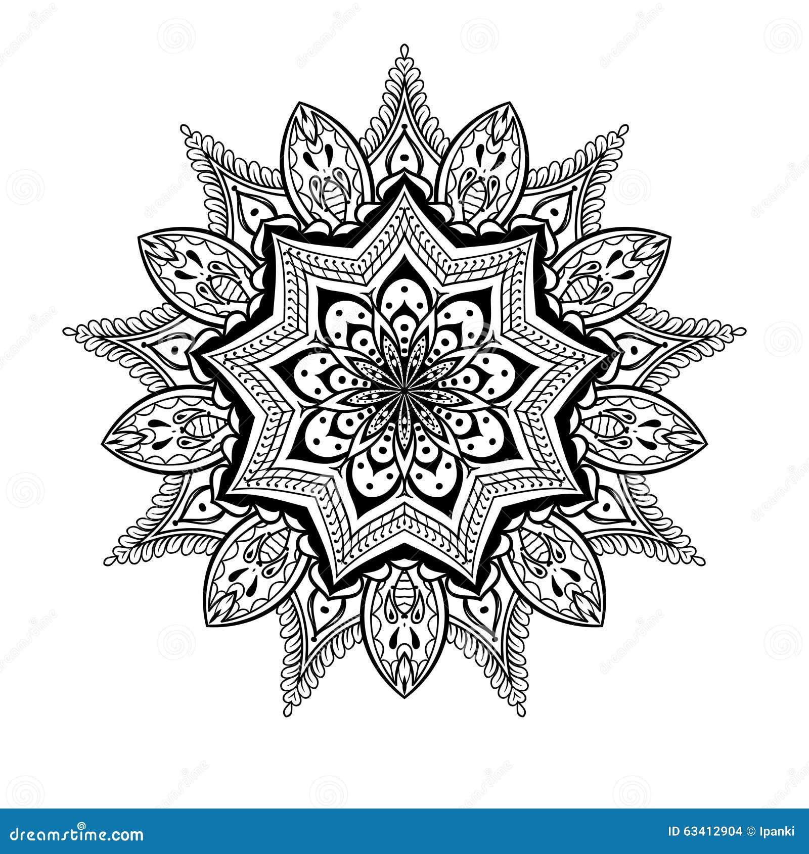 Preferenza Vector La Mandala Ornamentale Di Lotus, Tatuaggio Zentangled  TW47
