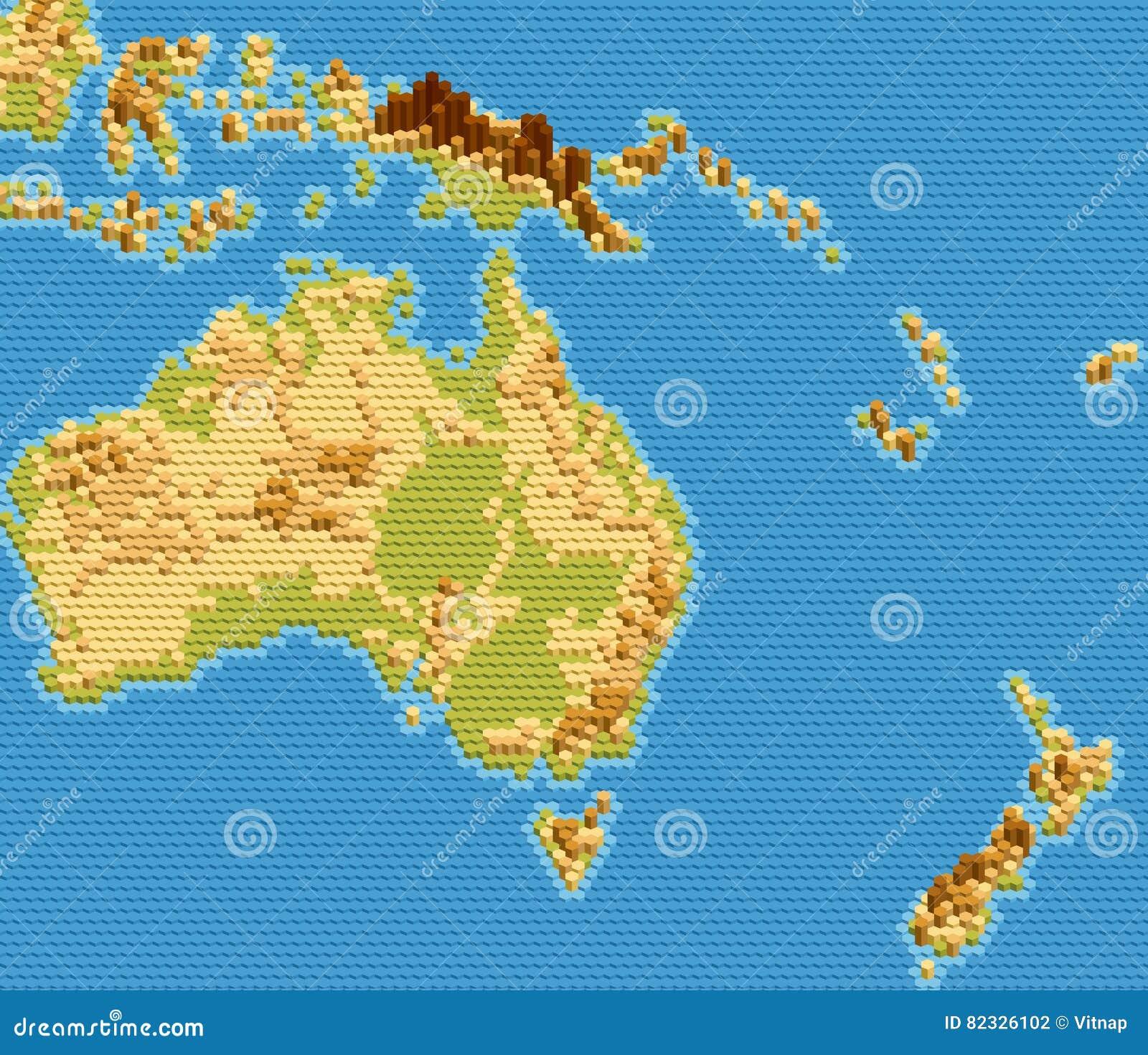 Cartina Fisica Dell Australia.Vector La Mappa Fisica Dell Australia E Di Oceania
