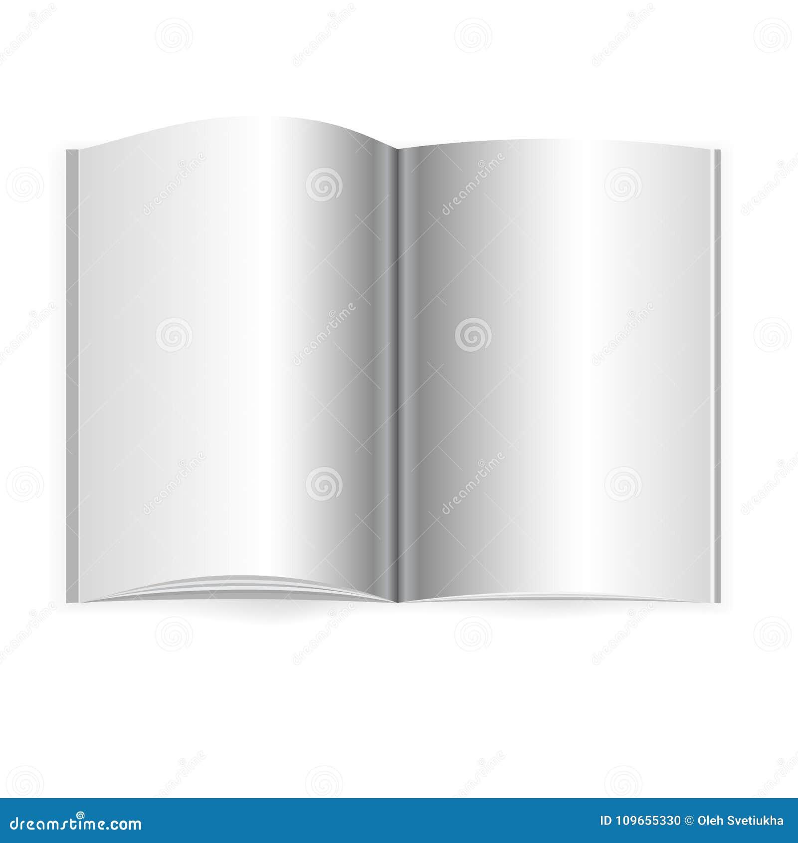 Vector la maqueta abierta realista del libro, del diario o de la revista con la hoja de A4 Páginas abiertas del espacio en blanco