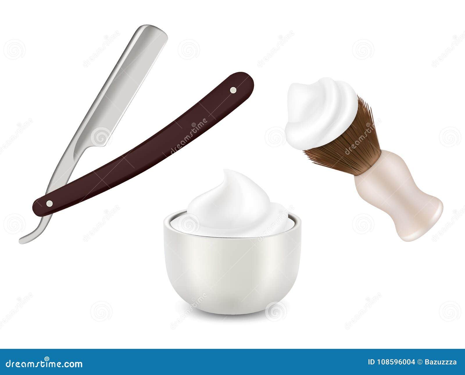 Vector la maquinilla de afeitar del peluquero, la brocha de afeitar y la taza con espuma
