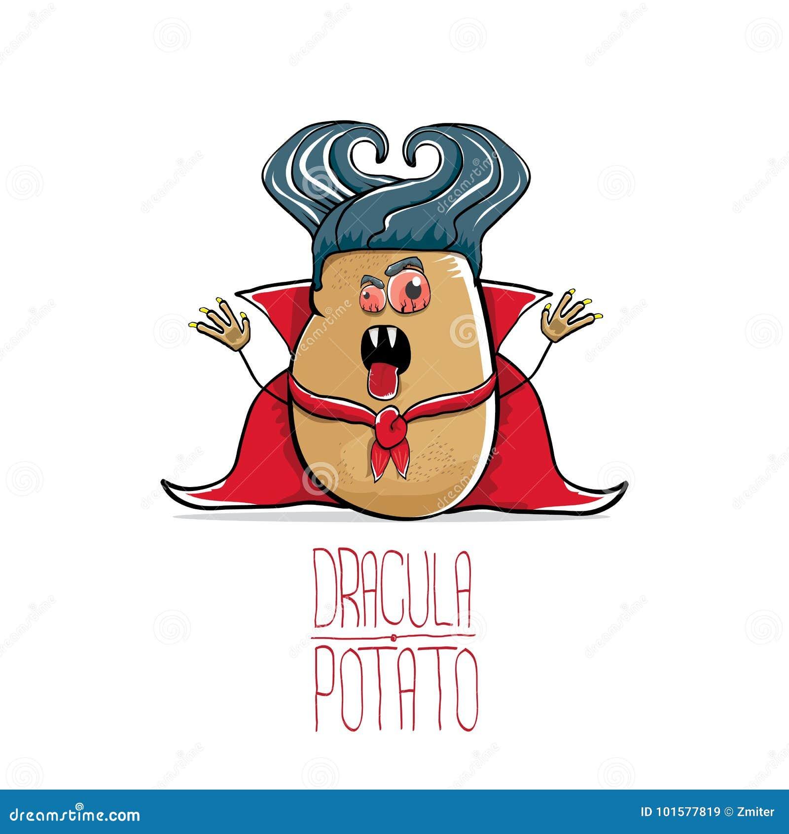 Vector la patata linda de Drácula de la historieta divertida con los colmillos y el cabo rojo aislados en el fondo blanco verdura