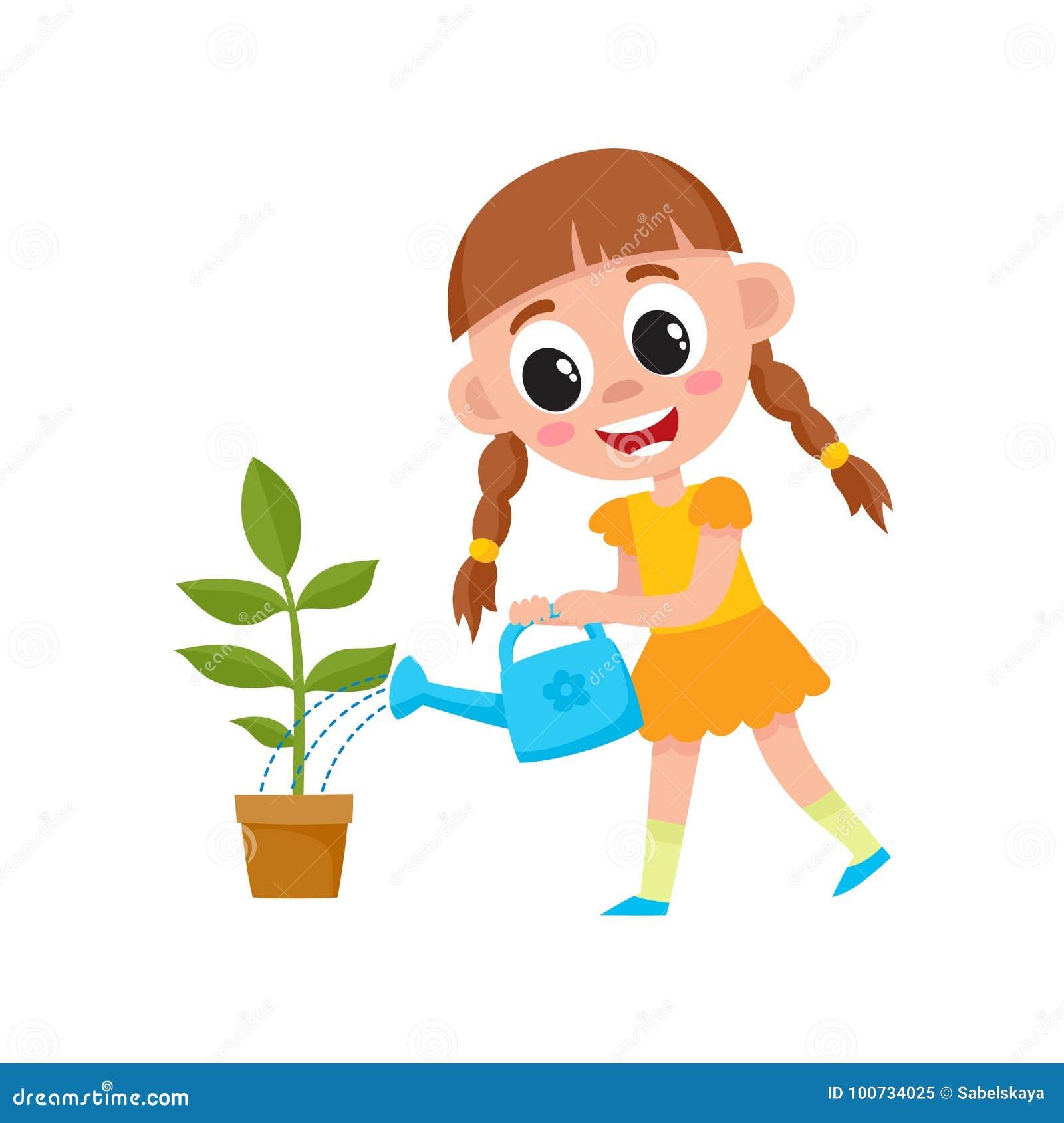 Vector la pianta di innaffiatura sveglia piana del bambino della ragazza in vaso