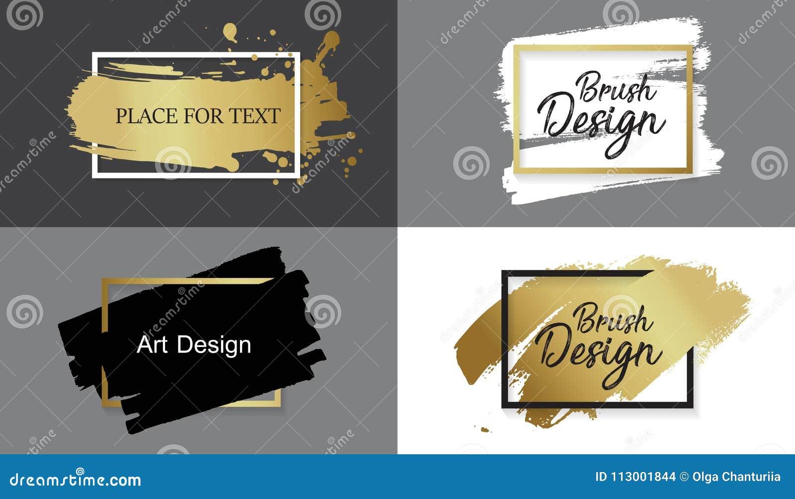 Vector la pintura, el movimiento del cepillo de la tinta, la línea o la textura negra Elemento, caja, marco o fondo artístico suc
