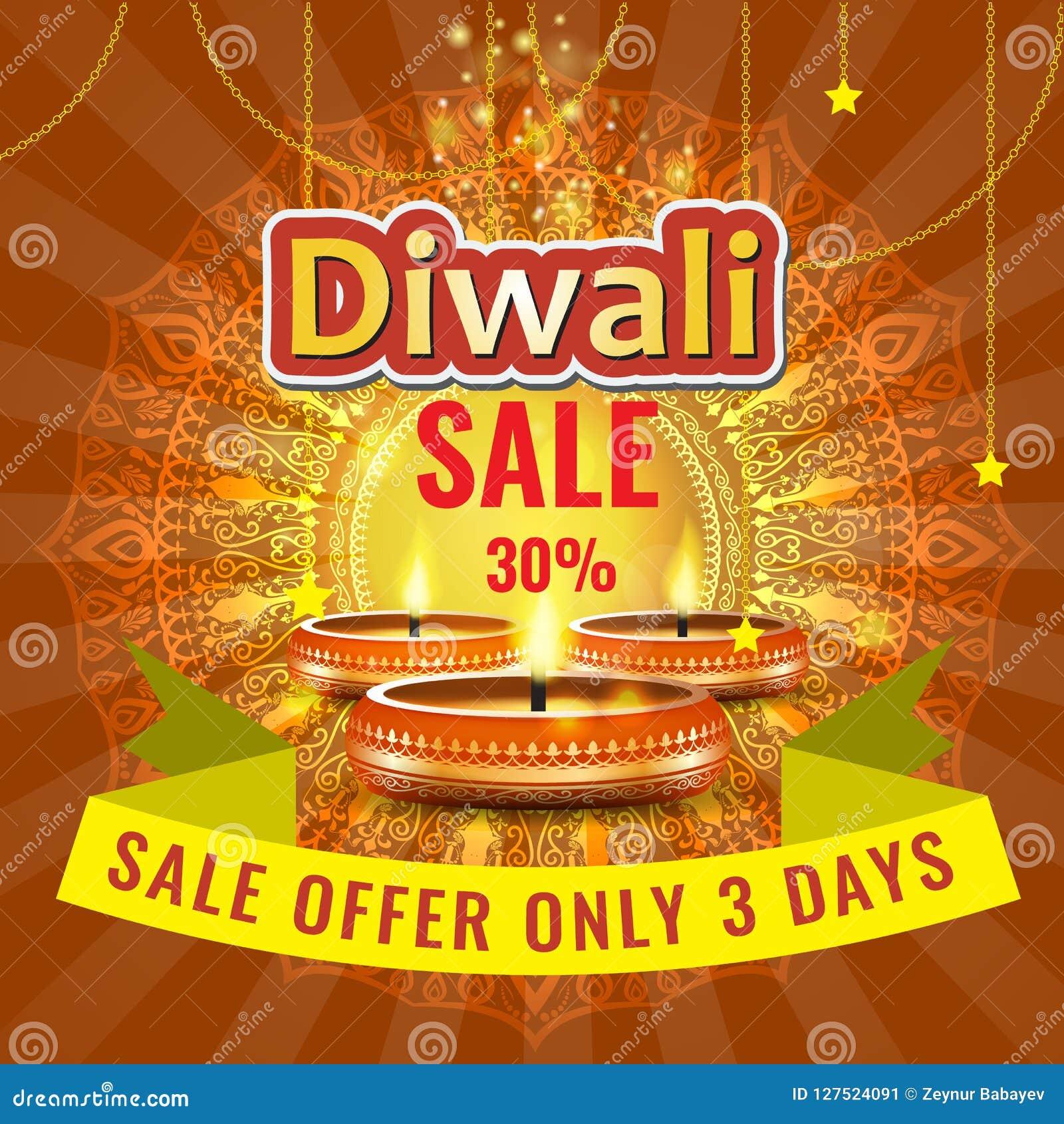 Vector la plantilla de la disposición del cartel o del aviador o del anuncio de la venta del festival de Diwali