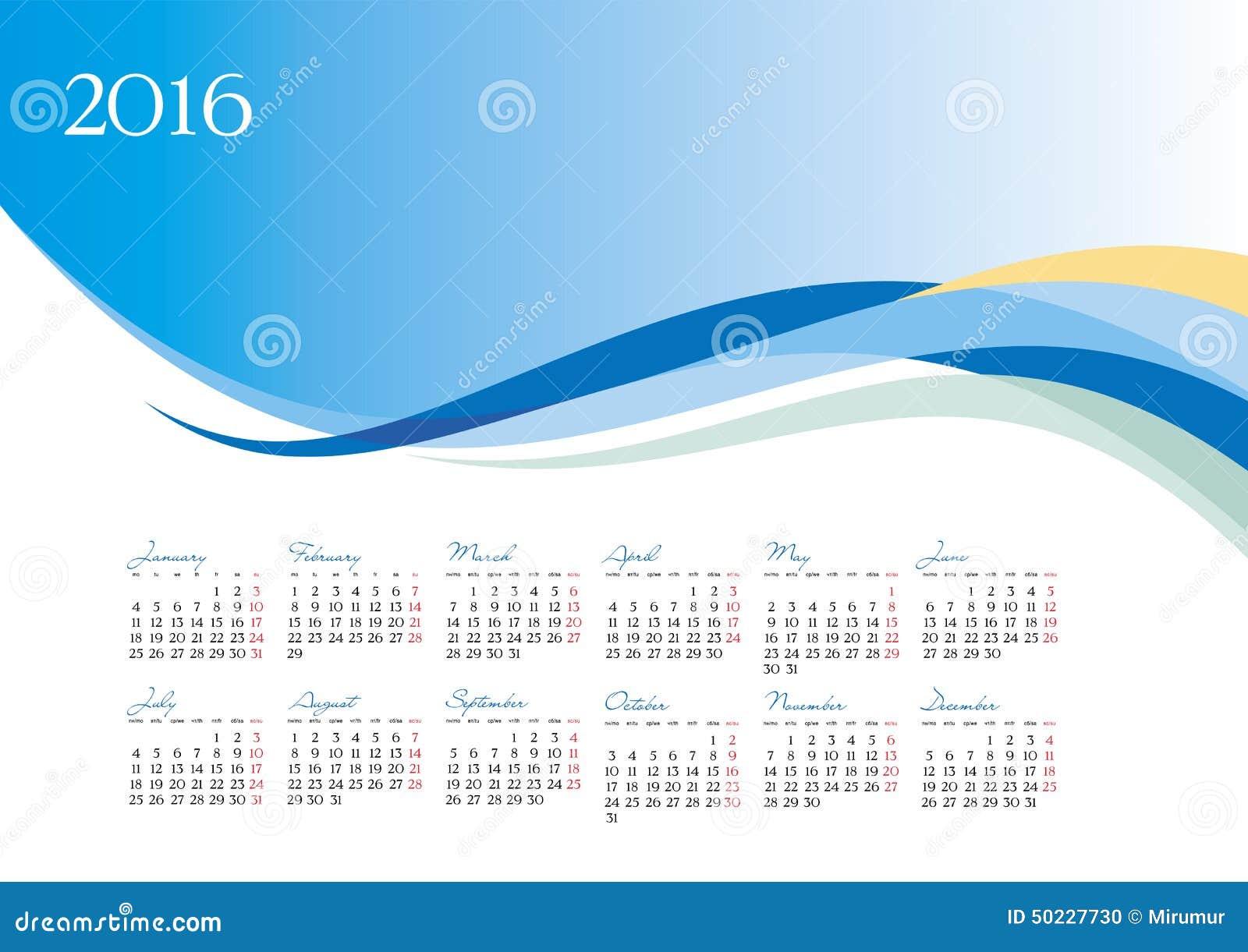 Vector La Plantilla Del Calendario 2016 En Fondo Azul Ilustración ...