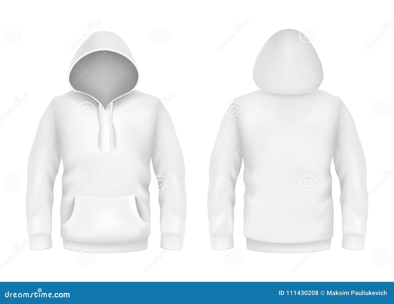 Vector la plantilla realista blanca de la maqueta 3d del suéter con capucha en el fondo blanco Manga larga de la moda, jersey de