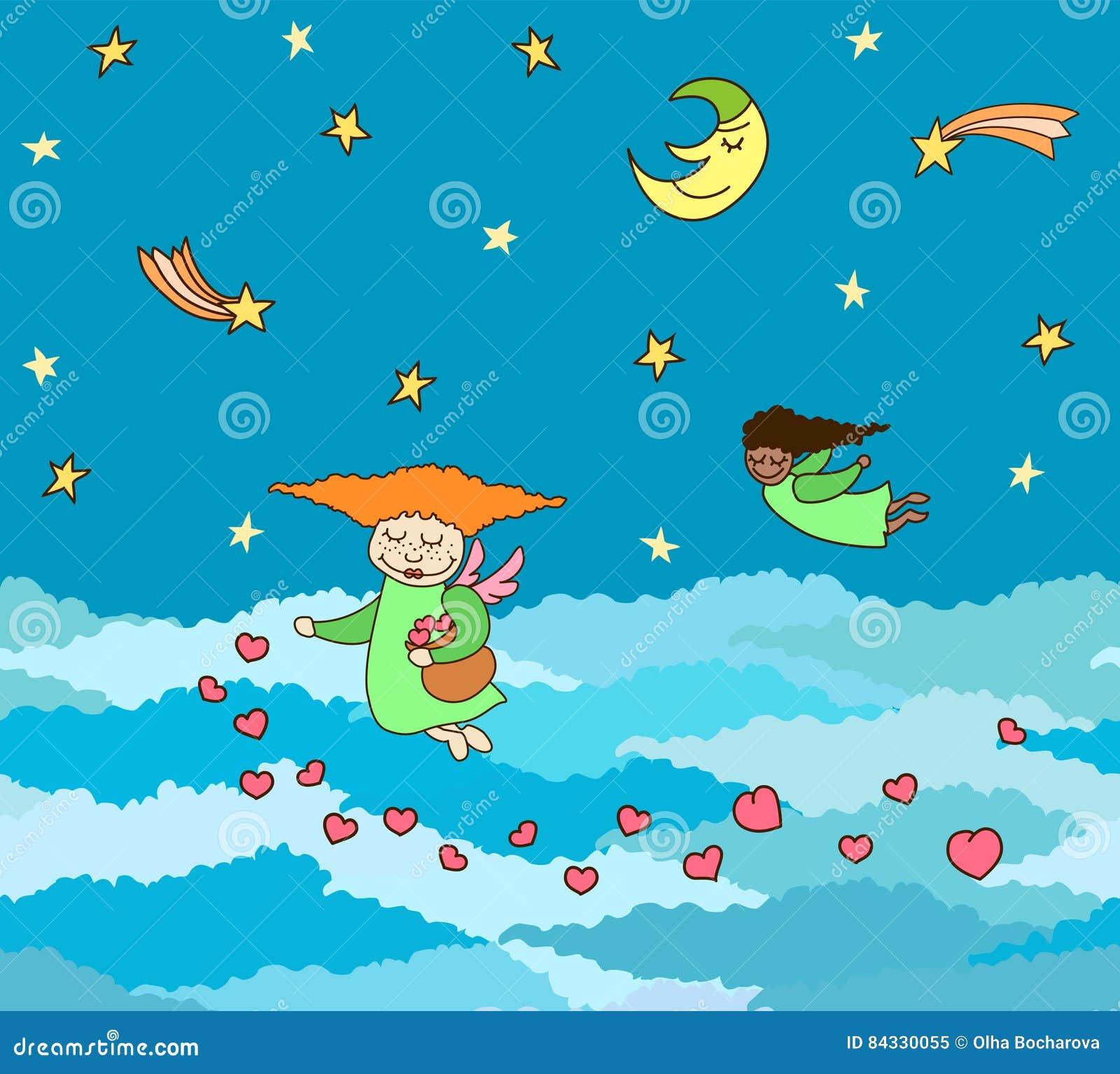 Vector la postal de volar pequeños ángeles con los corazones sobre el cielo