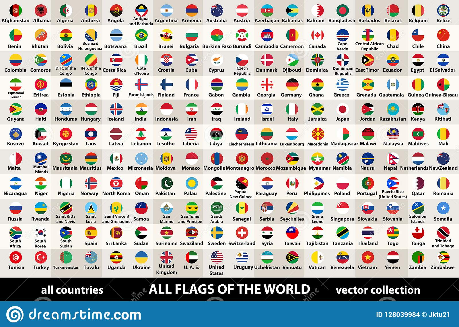 Vector la raccolta di tutte le bandiere del mondo nella progettazione circolare, sistemate in ordine alfabetico, con i colori ori