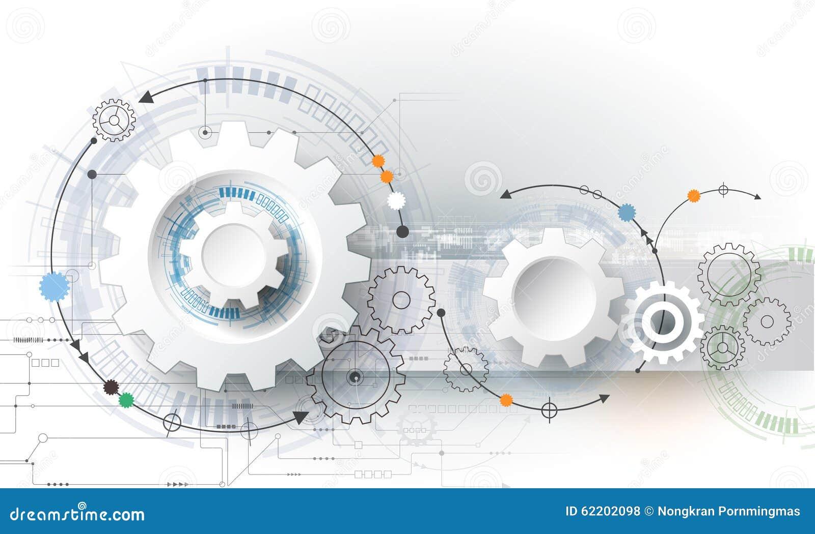 Vector la ruota di ingranaggio dell illustrazione, esagoni e circuito, tecnologia digitale di Ciao-tecnologia e ingegneria