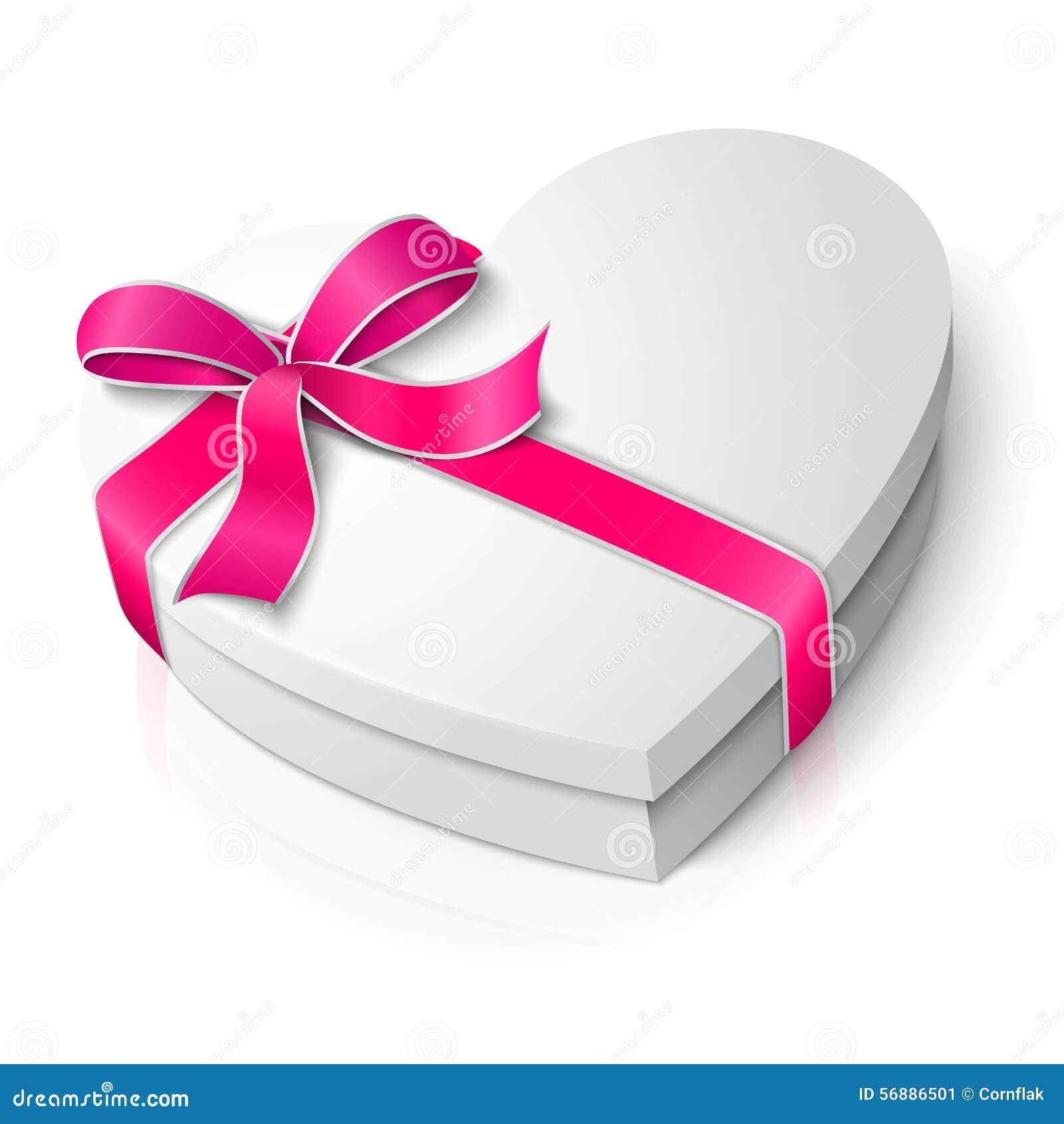 Vector la scatola in bianco realistica di forma del cuore con il rosa