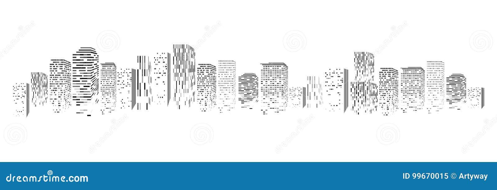 Vector la silueta aislada de la ciudad grande de la ciudad, rascacielos que construyen, centros de negocios Crepúsculo, puesta de