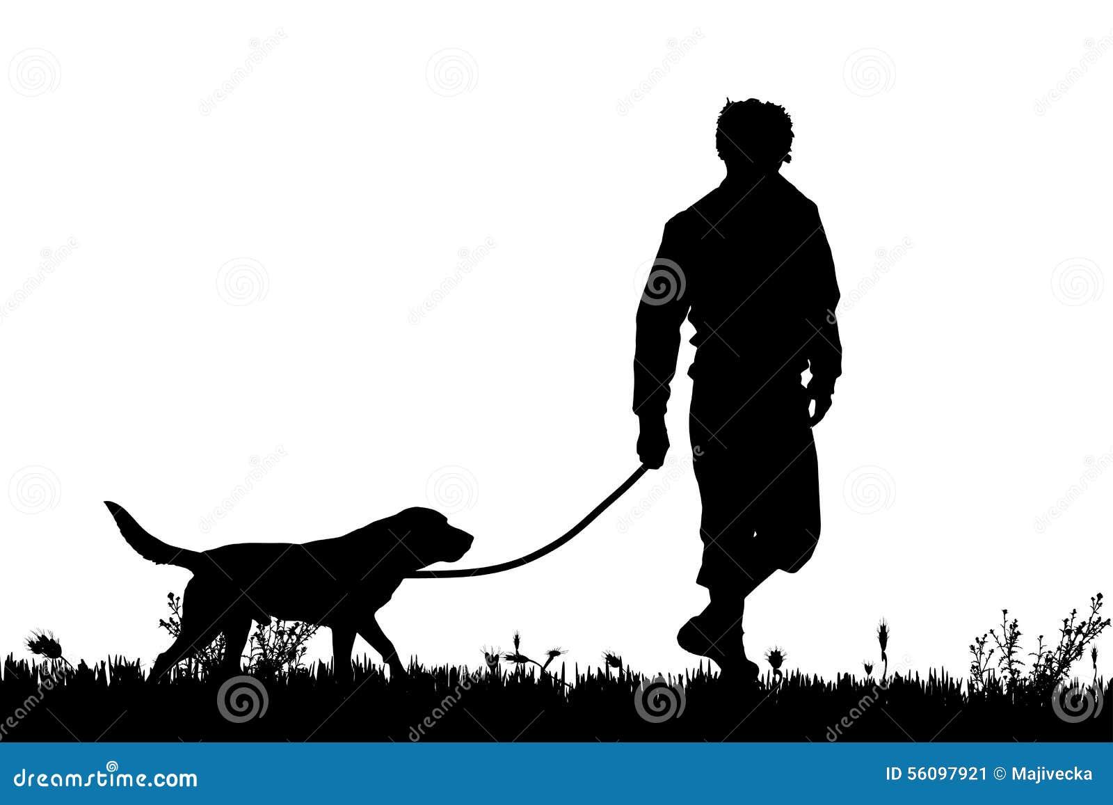 Vector la silueta de un hombre con un perro