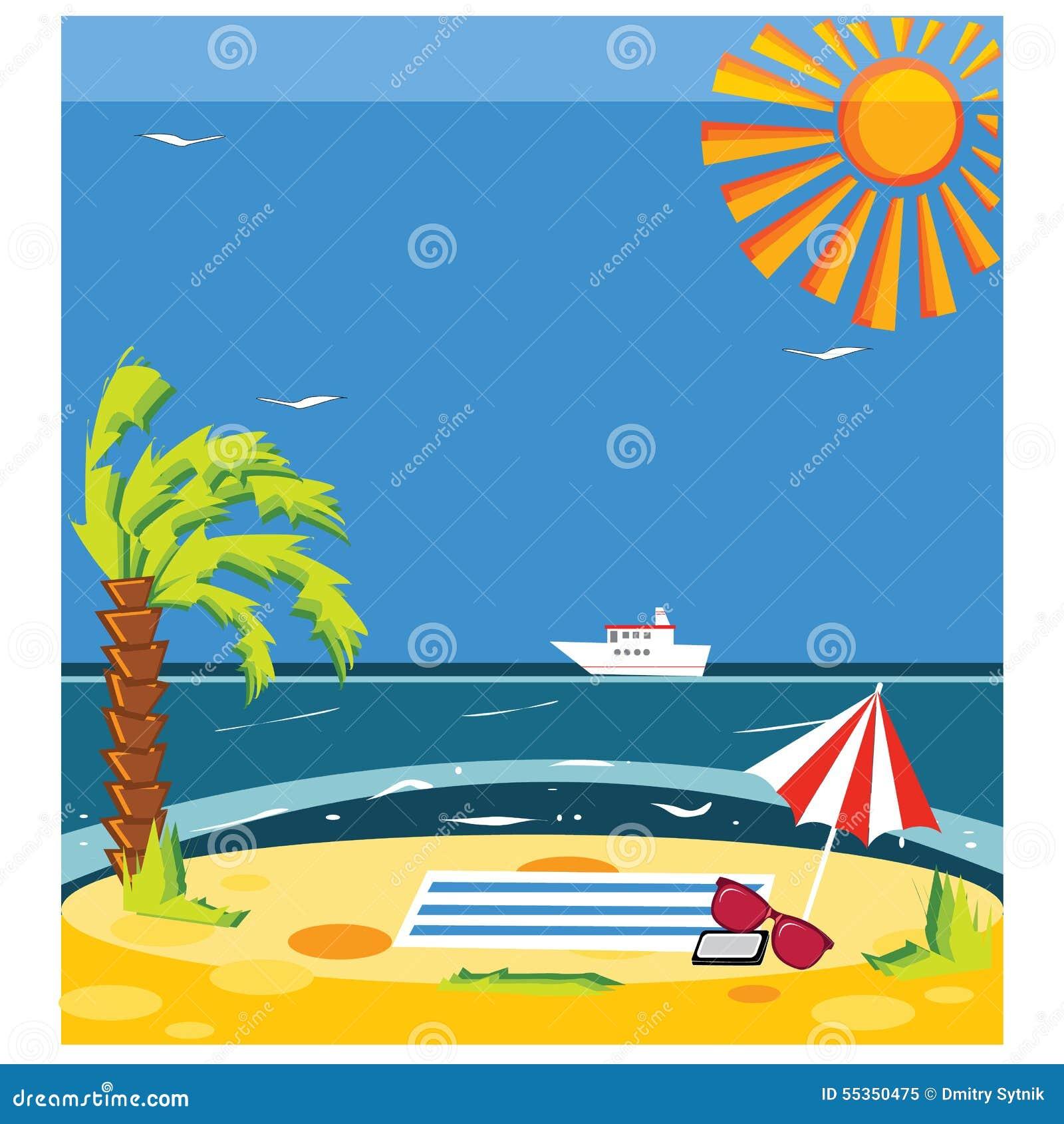 Vector la spiaggia dell estate di concetto con la sabbia ed il mare in variopinto luminoso
